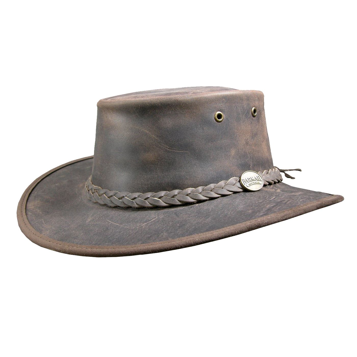 Barmah Foldaway Bronco Leather Outback Hat in Black