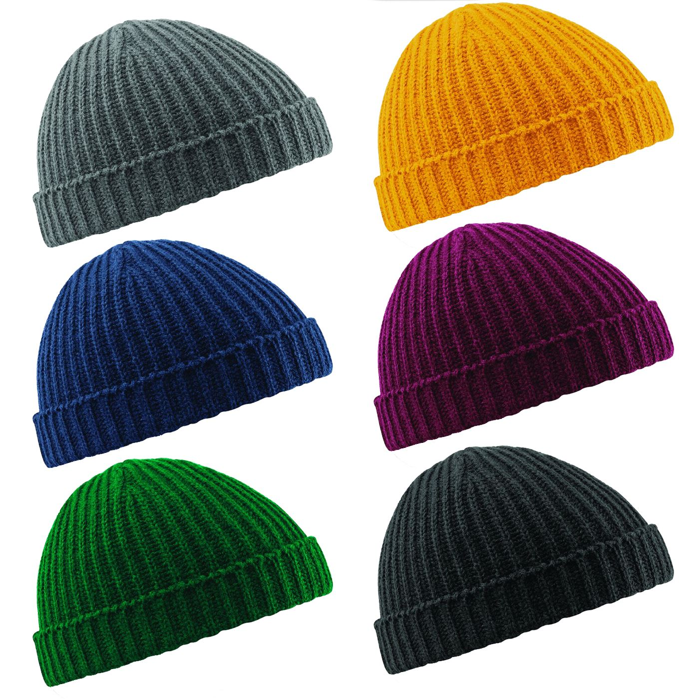 688e569b81100 Details about Beechfield Trawler Beanie Hat Fisherman Retro Hipster Style  Knitted Look