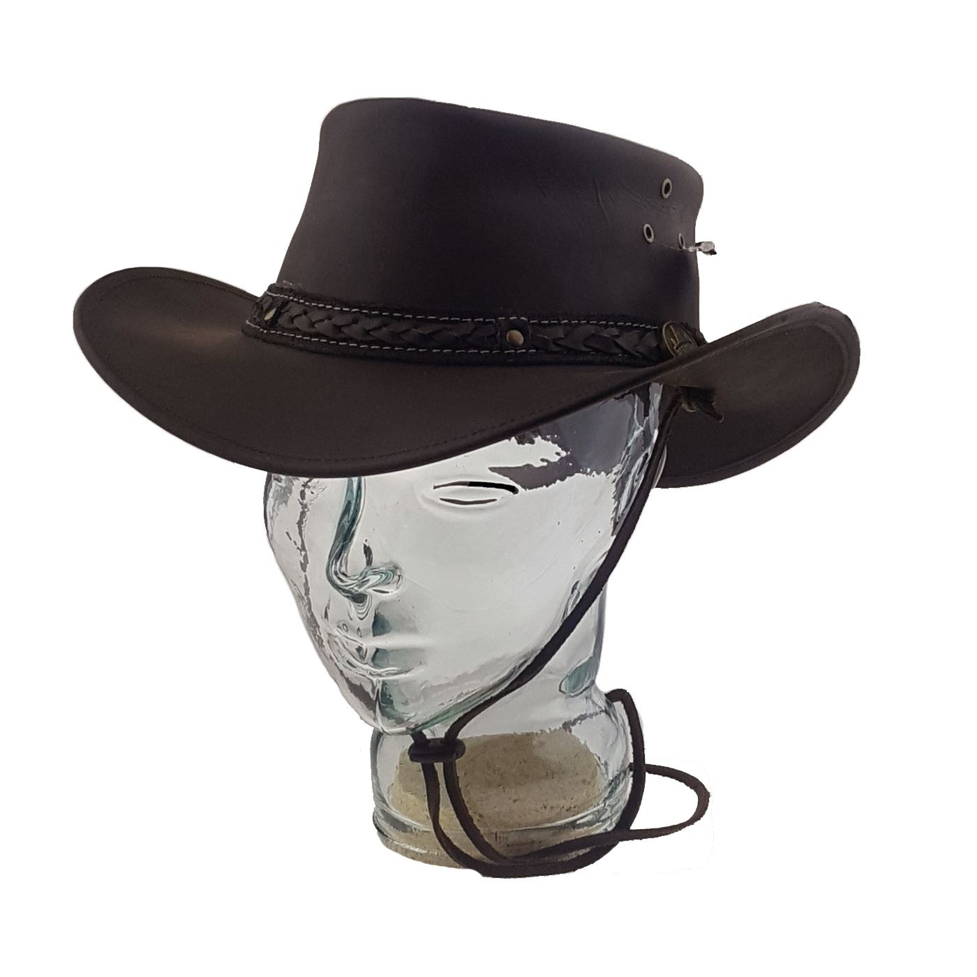 LEATHER COWBOY WESTERN AUSSIE STYLE  BUSH HAT BROWN WATERPROOF PULUP