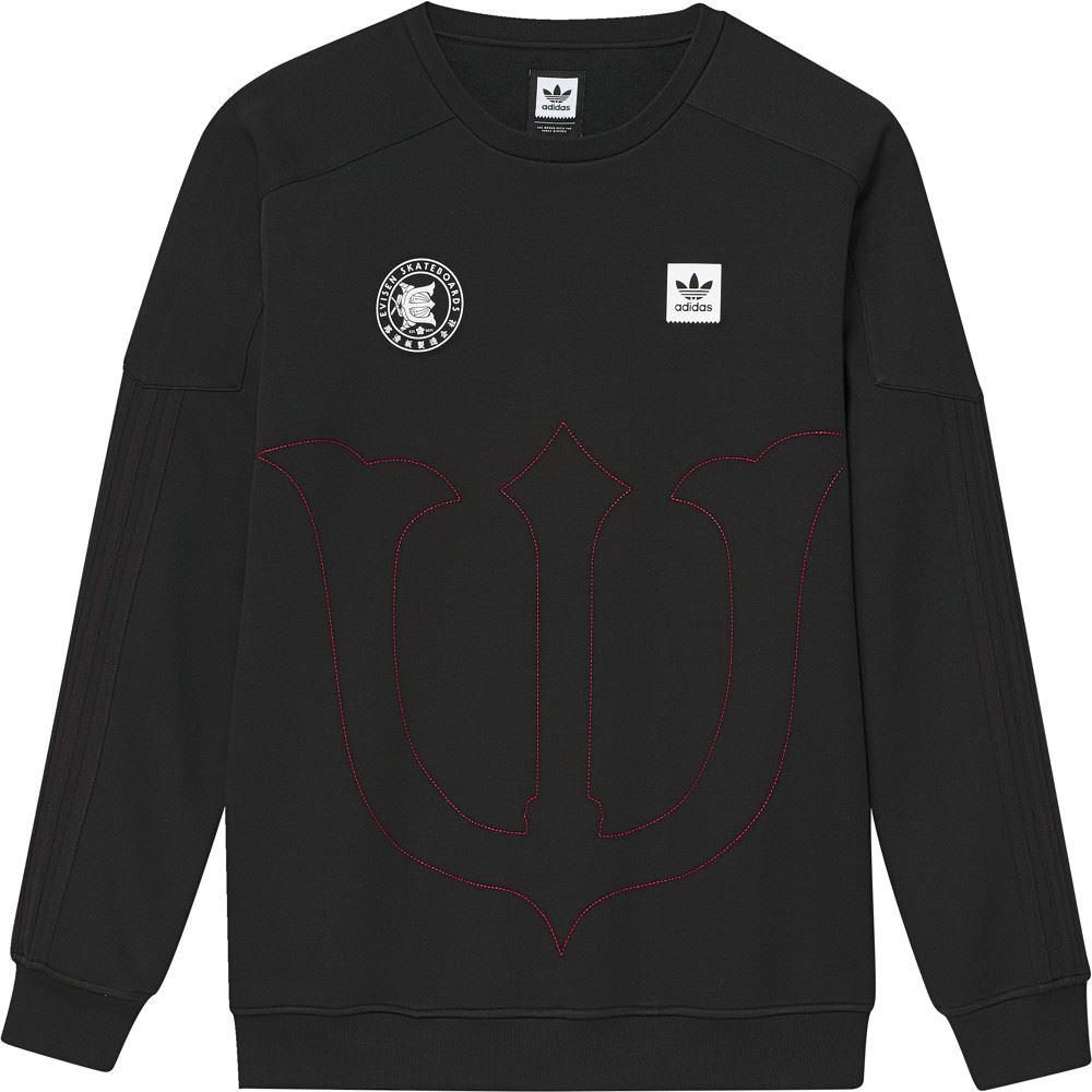 Details about Adidas Skateboarding x Evisen Crewneck Sweatshirt Black Scarlet