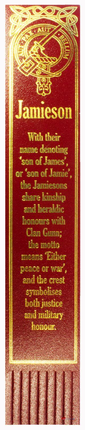 MacPherson Scottish Clan Name Gold Embossed Leather Bookmark Made In Scotland