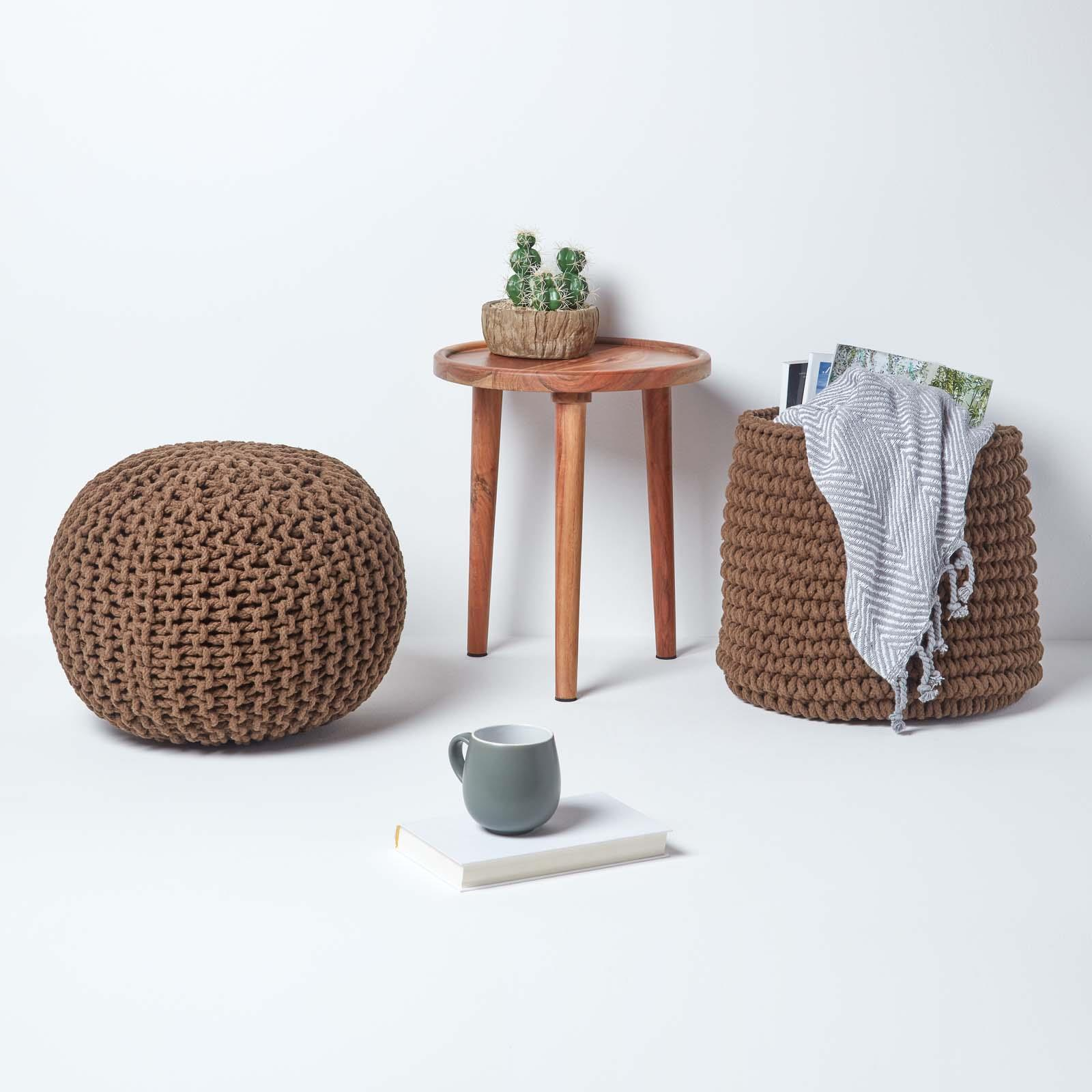 Hand-Knitted-100-Cotton-Pouffes-Round-Sphere-Or-Cube-Square-Chunky-Footstools thumbnail 38