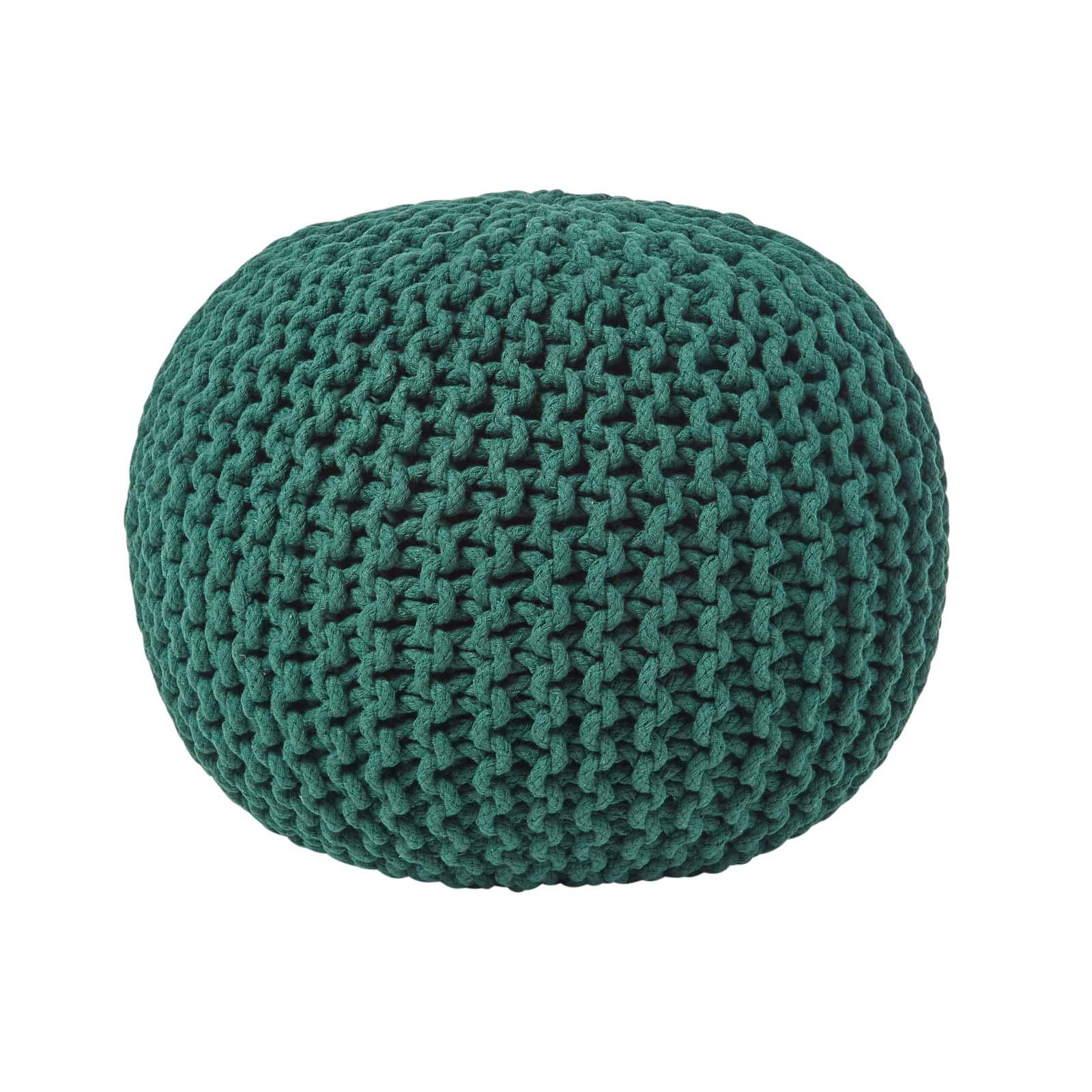 Hand-Knitted-100-Cotton-Pouffes-Round-Sphere-Or-Cube-Square-Chunky-Footstools thumbnail 40
