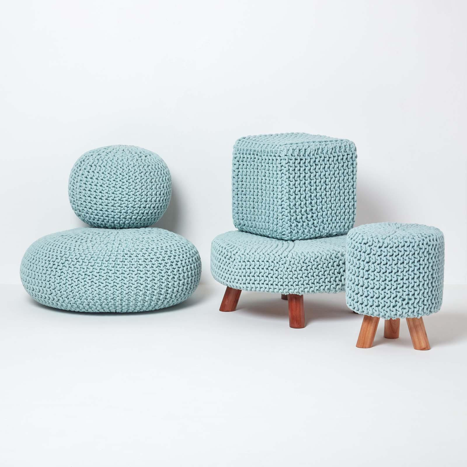 Hand-Knitted-100-Cotton-Pouffes-Round-Sphere-Or-Cube-Square-Chunky-Footstools thumbnail 137
