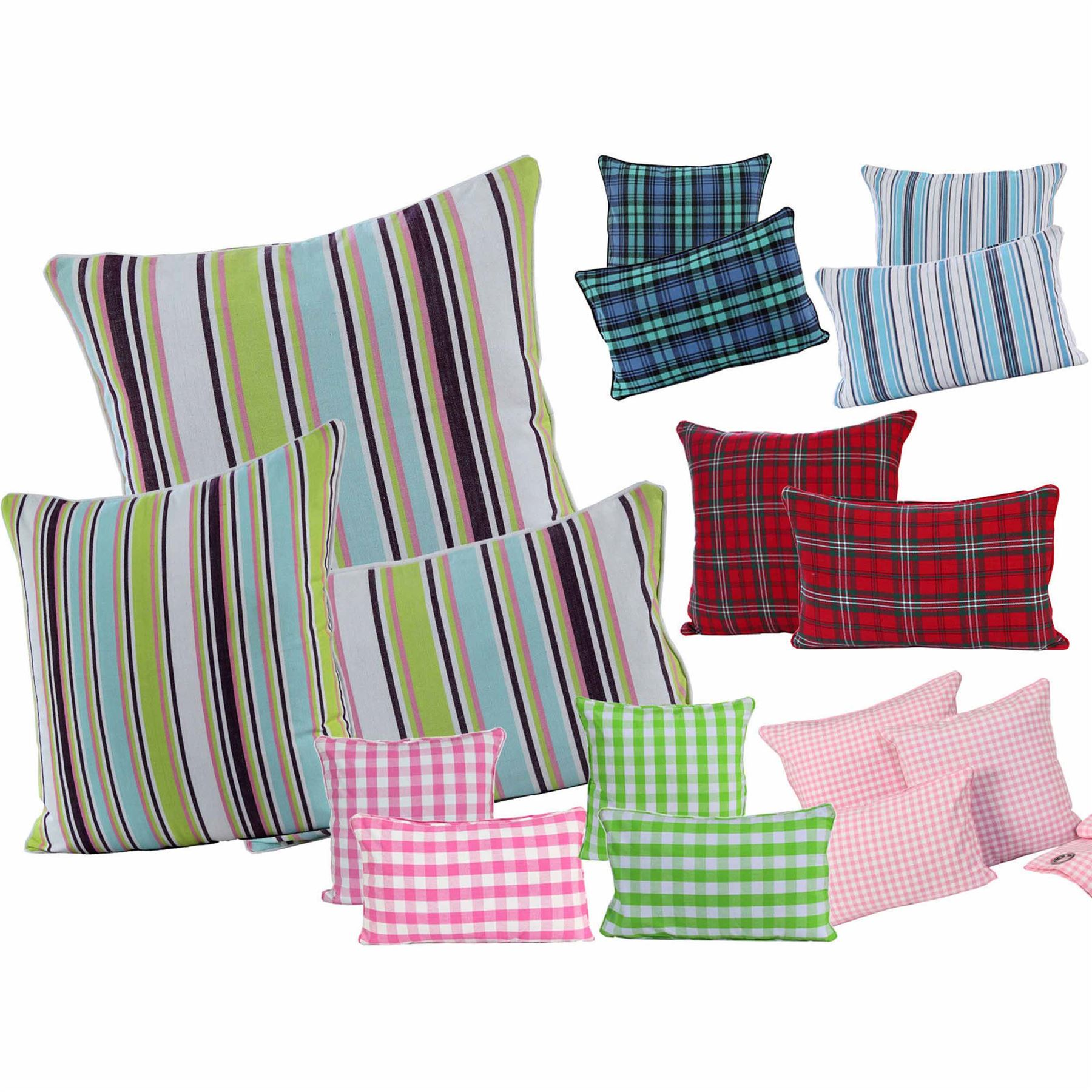 Homescapes Cotton Check And Striped Cushion Covers Square