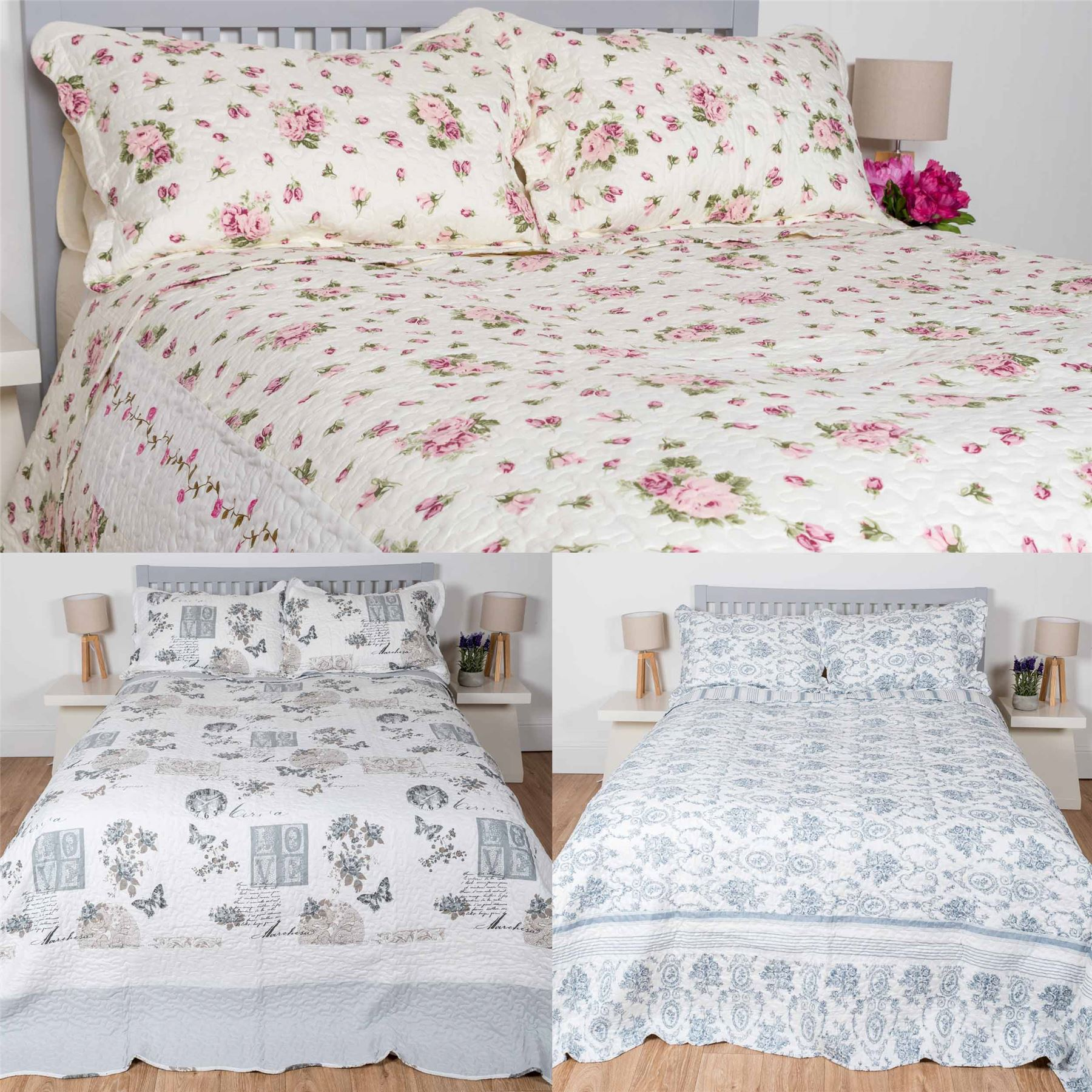 Bedspread Patchwork Printed Quilted Bed Throw Vintage Runner With Pillow Shams