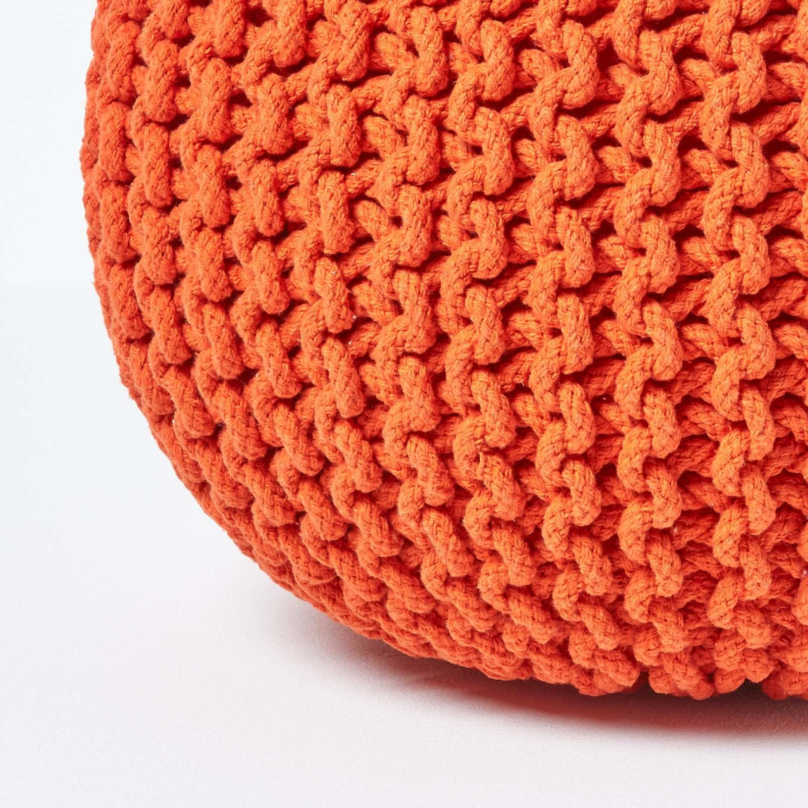 Hand-Knitted-100-Cotton-Pouffes-Round-Sphere-Or-Cube-Square-Chunky-Footstools thumbnail 119