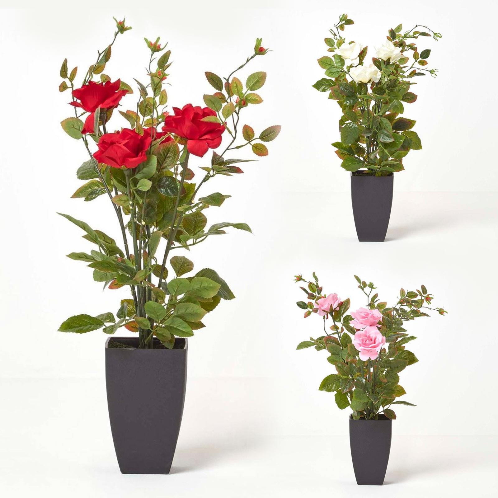 Large Rose Bush Artificial Flowers In Modern Black Pot