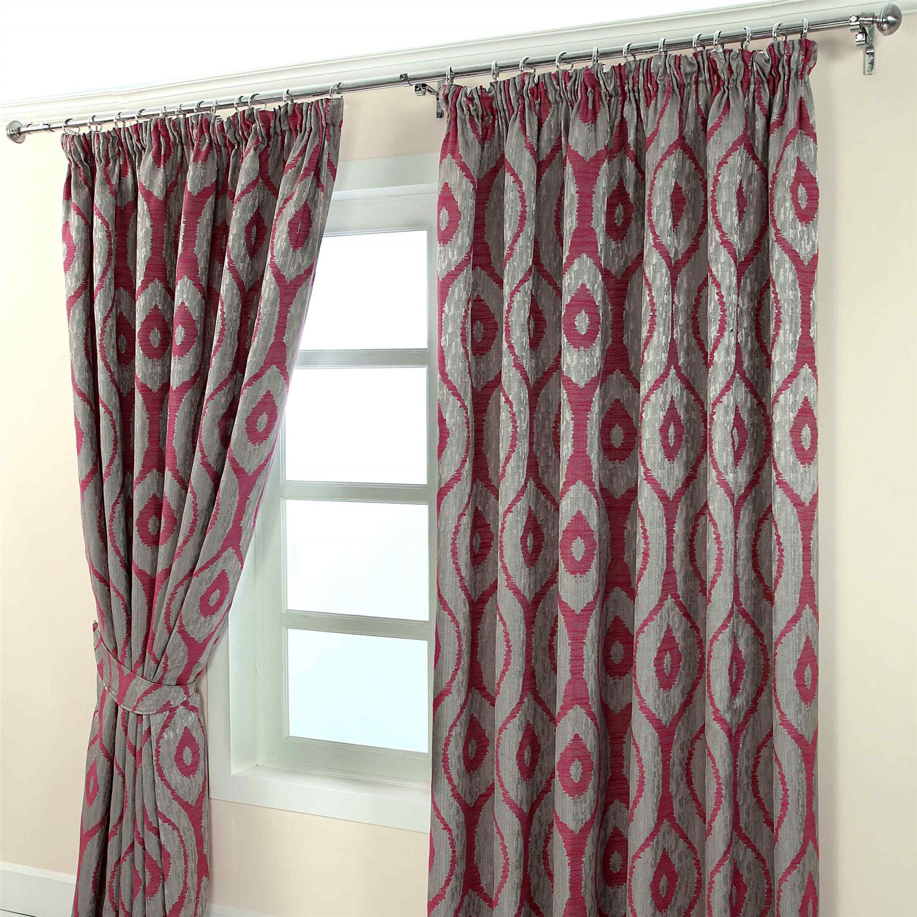 pencil pleat jacquard ready made curtains abstract ikat. Black Bedroom Furniture Sets. Home Design Ideas