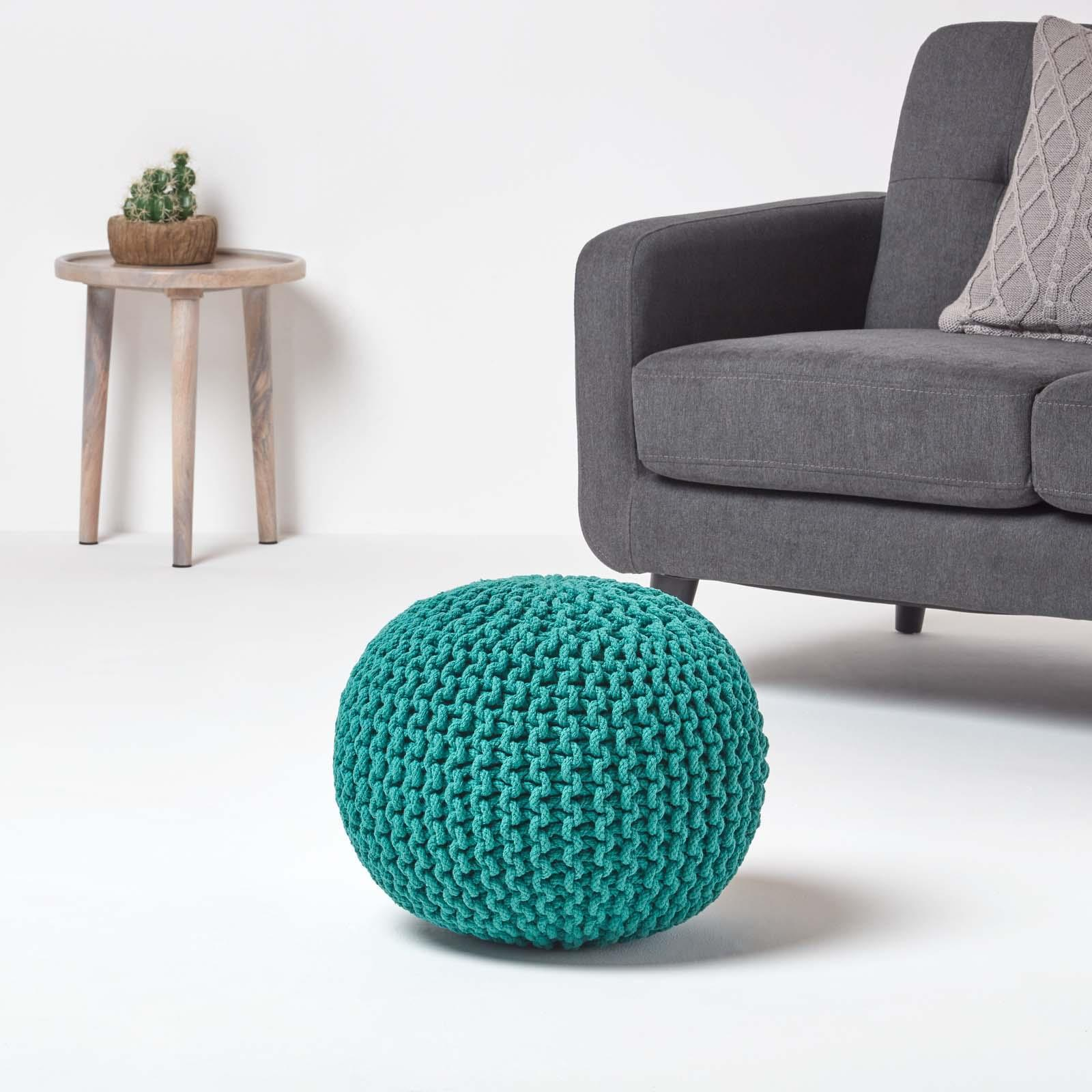 Hand-Knitted-100-Cotton-Pouffes-Round-Sphere-Or-Cube-Square-Chunky-Footstools thumbnail 194