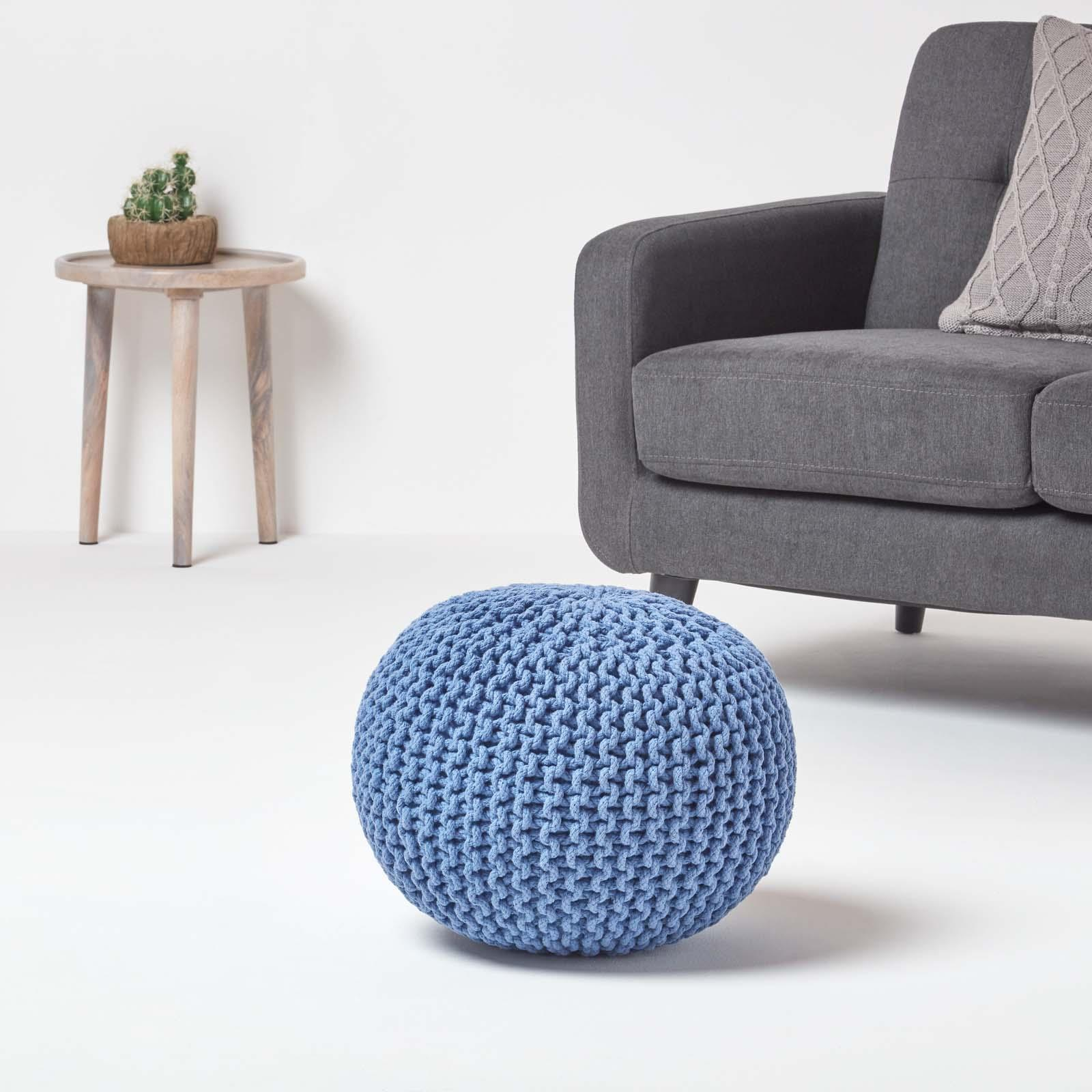 Hand-Knitted-100-Cotton-Pouffes-Round-Sphere-Or-Cube-Square-Chunky-Footstools thumbnail 17