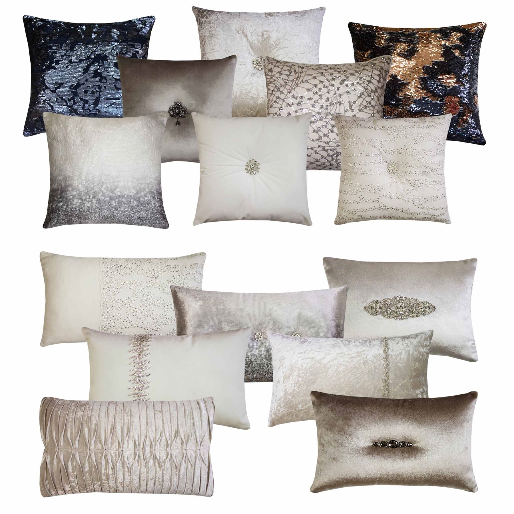 Kylie Minogue Cushion Oyester Sequin Embellished Pleated