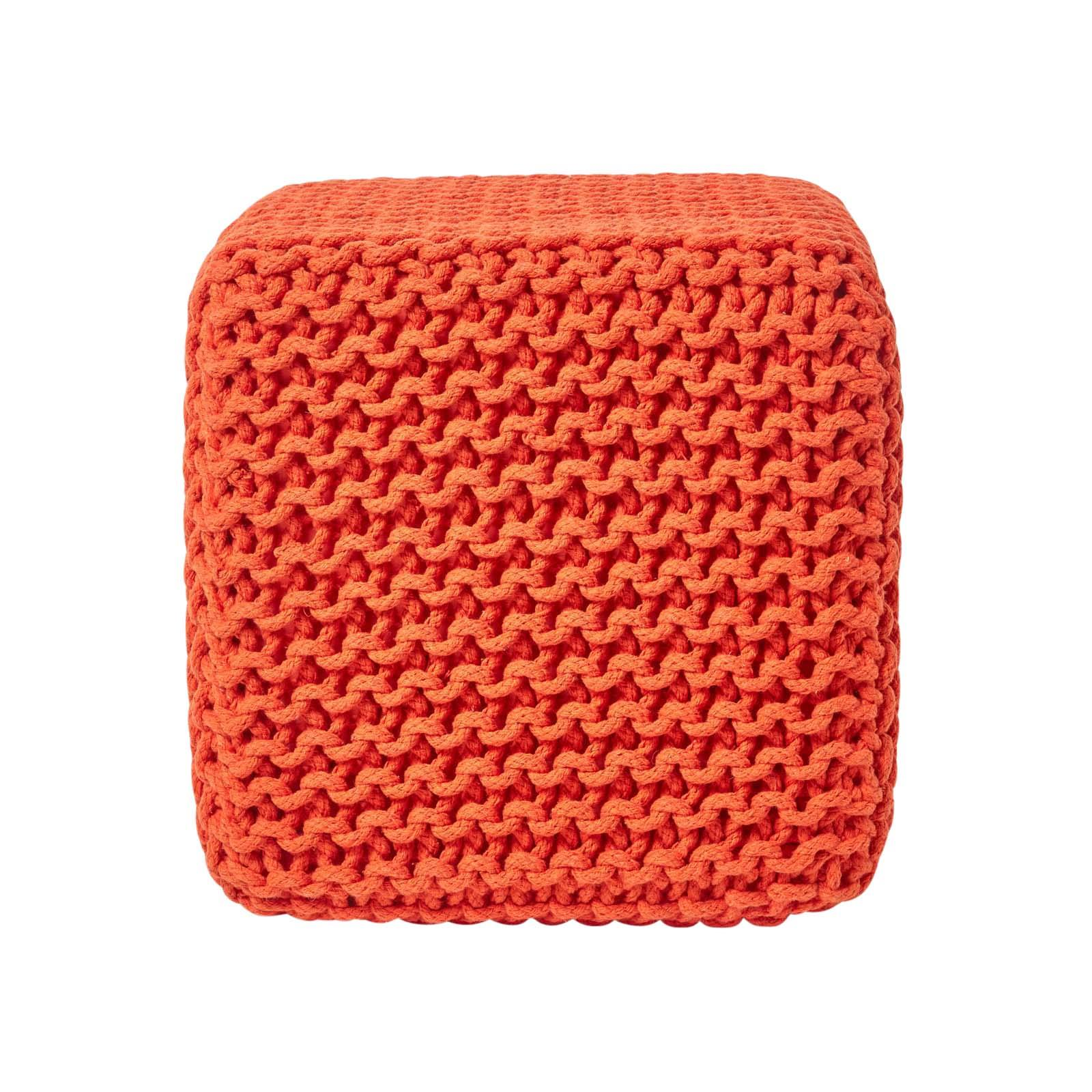 Hand-Knitted-100-Cotton-Pouffes-Round-Sphere-Or-Cube-Square-Chunky-Footstools thumbnail 116