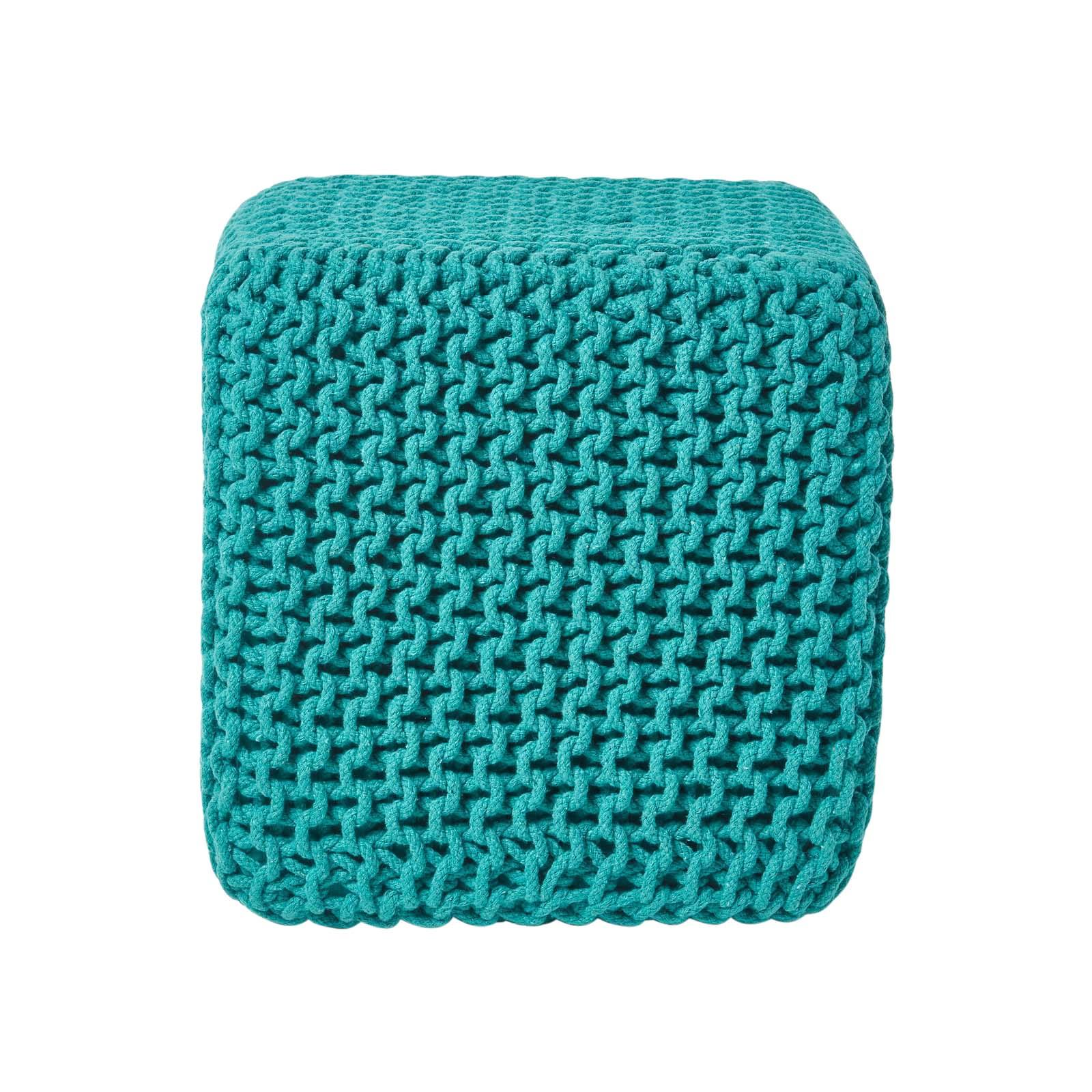 Hand-Knitted-100-Cotton-Pouffes-Round-Sphere-Or-Cube-Square-Chunky-Footstools thumbnail 193