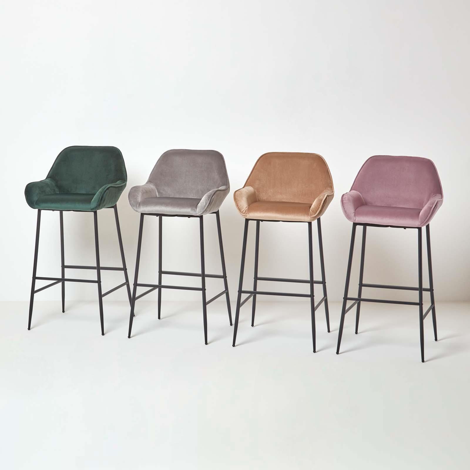 Velvet Bar Stool Chair On Trend Kitchen Breakfast Bar Stool with ...