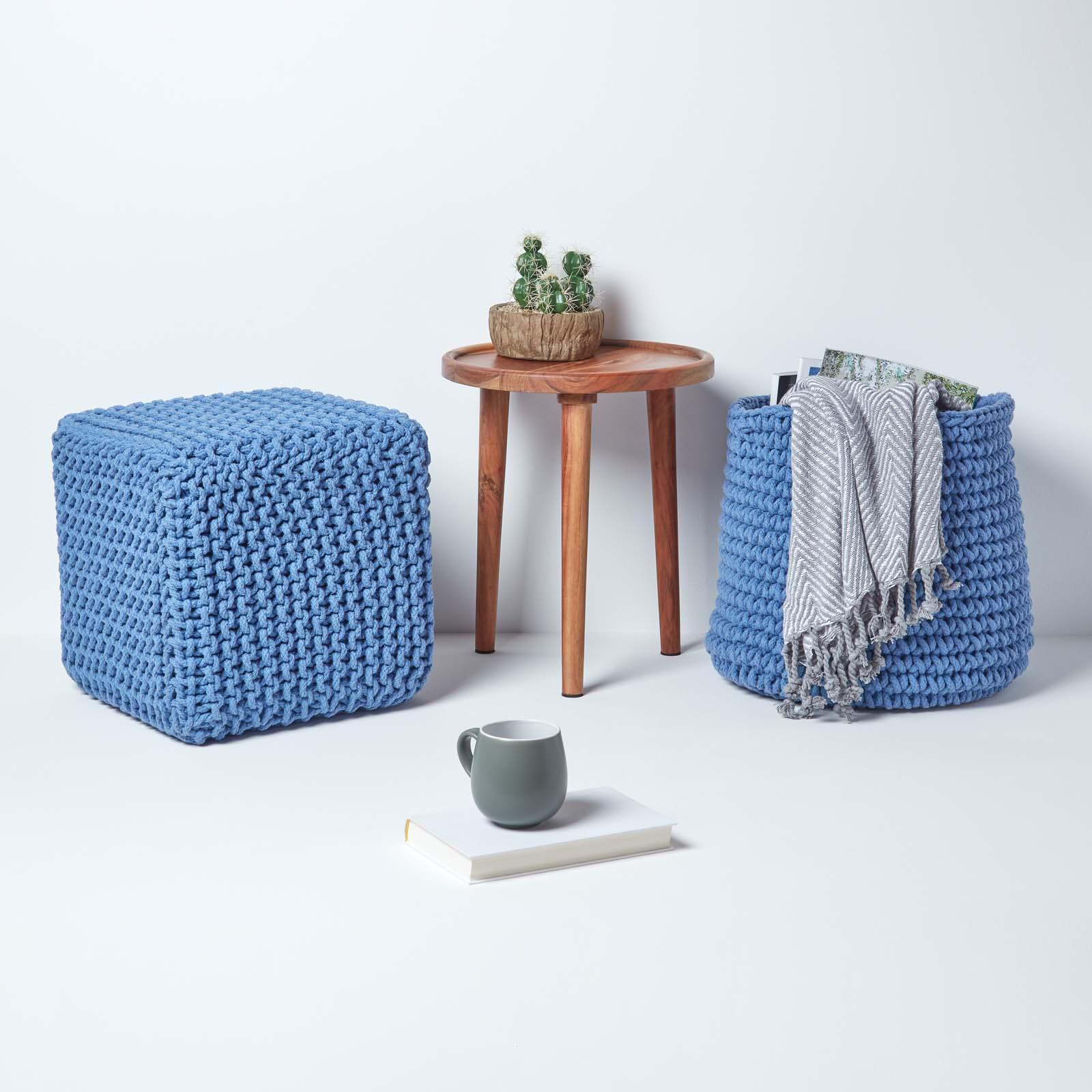 Hand-Knitted-100-Cotton-Pouffes-Round-Sphere-Or-Cube-Square-Chunky-Footstools thumbnail 26