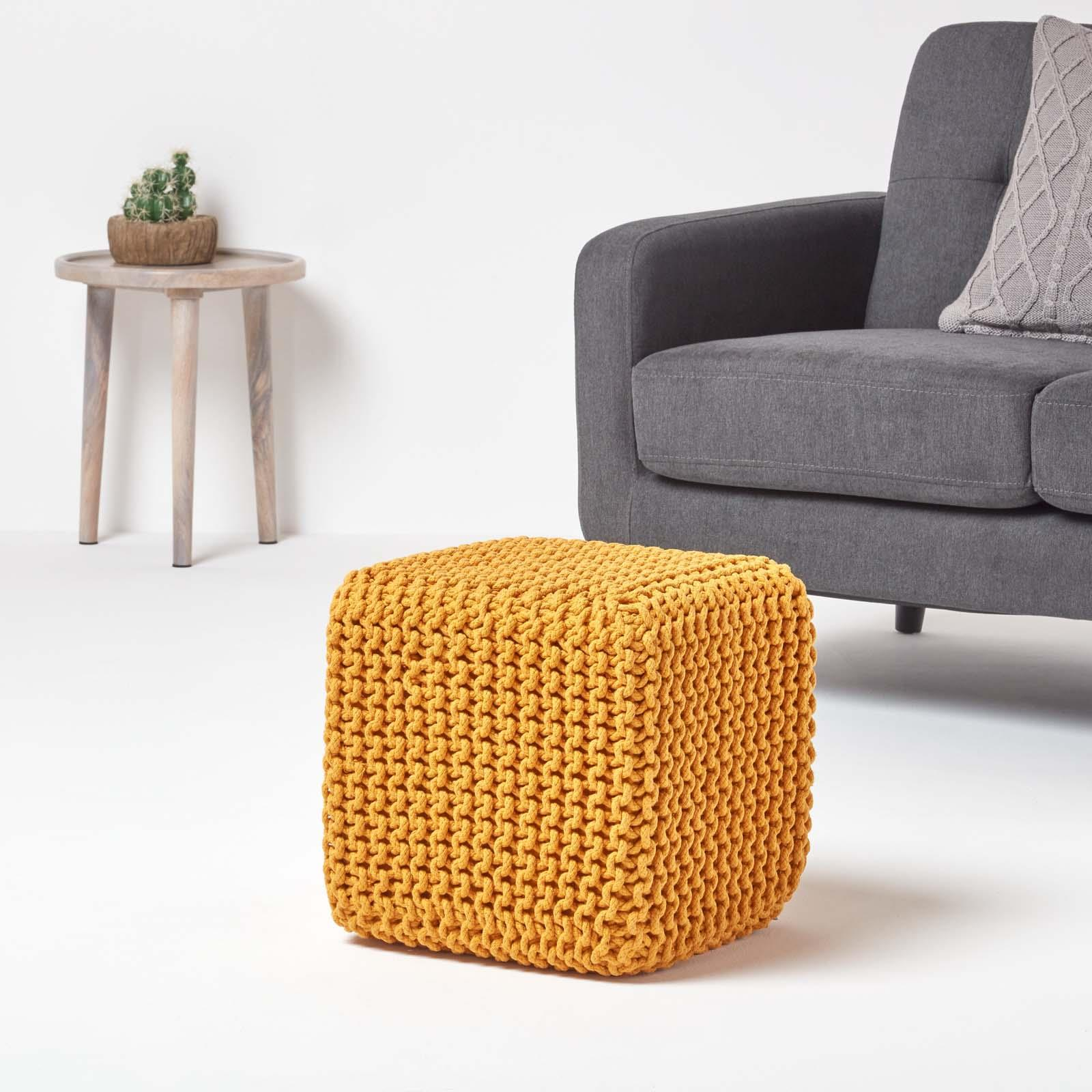 Hand-Knitted-100-Cotton-Pouffes-Round-Sphere-Or-Cube-Square-Chunky-Footstools thumbnail 87