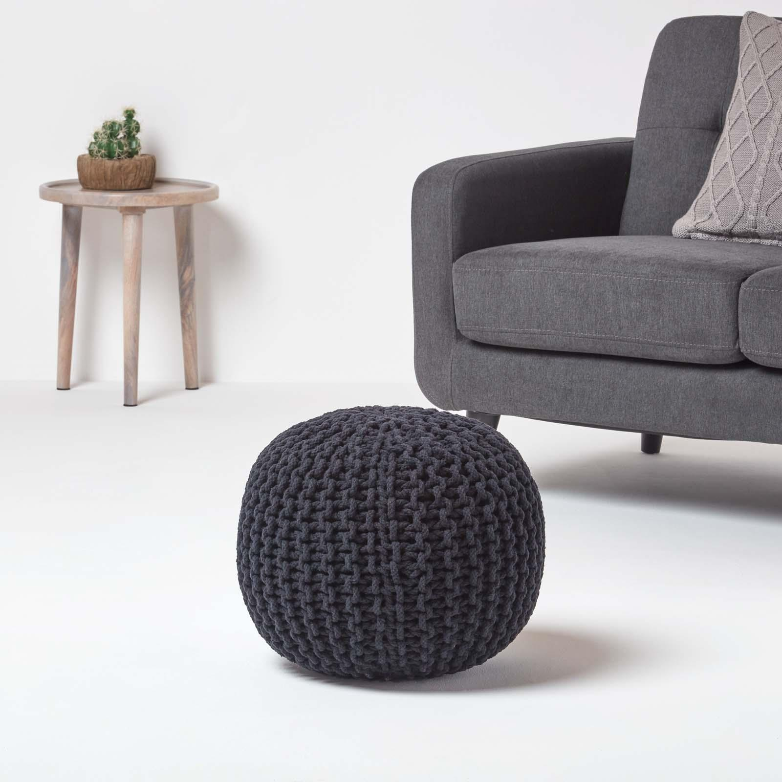 Hand-Knitted-100-Cotton-Pouffes-Round-Sphere-Or-Cube-Square-Chunky-Footstools thumbnail 5