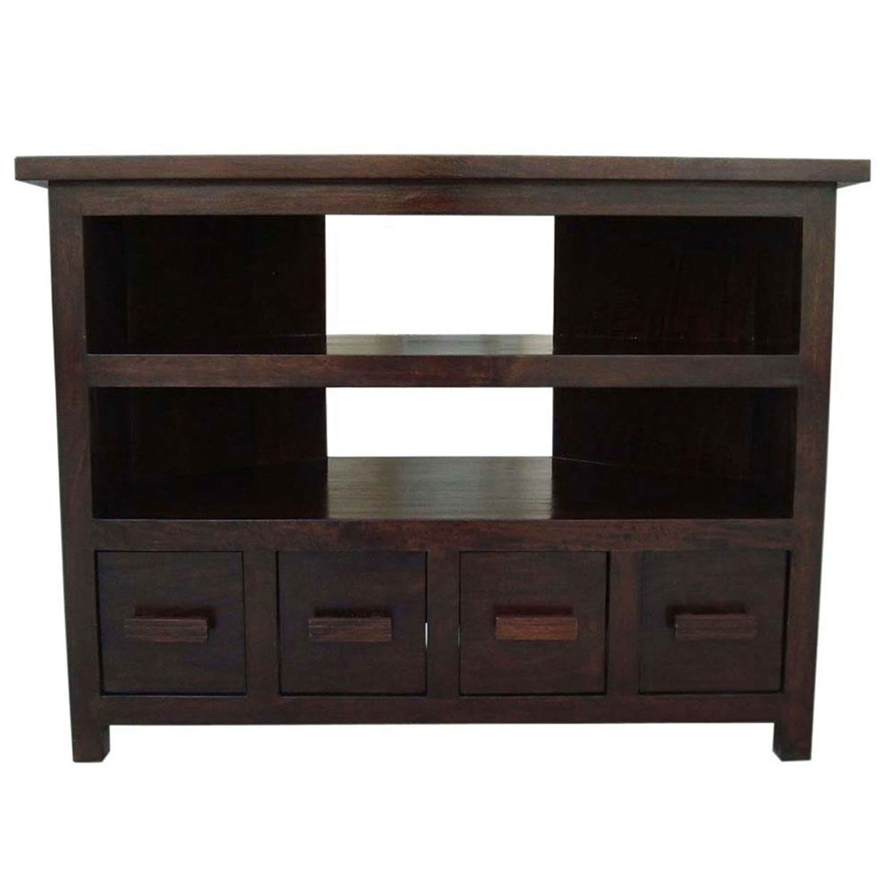 Bookcase Table Mangat Solid Dark Wood Indian Furniture Tv Unit Table Bookcase
