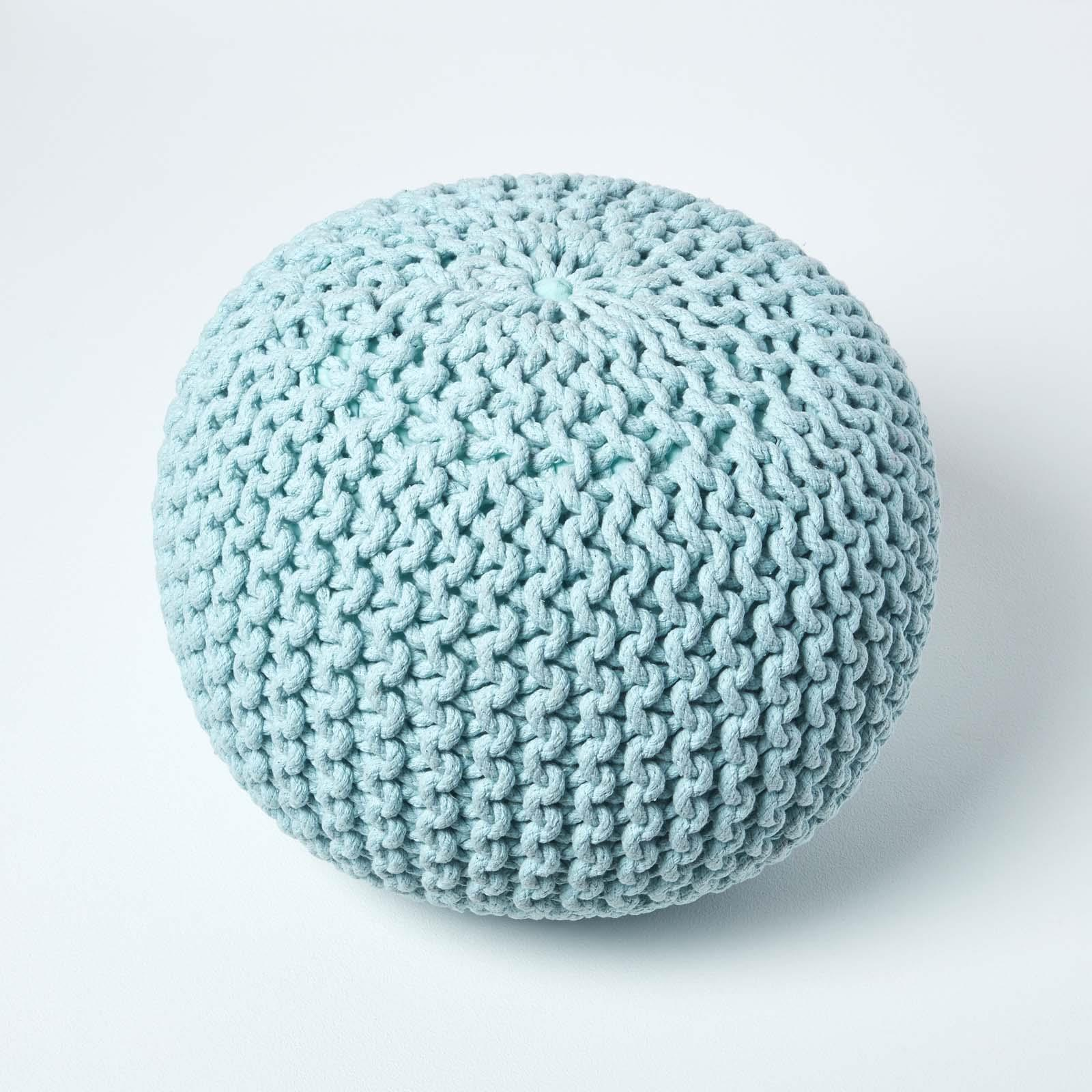 Hand-Knitted-100-Cotton-Pouffes-Round-Sphere-Or-Cube-Square-Chunky-Footstools thumbnail 130