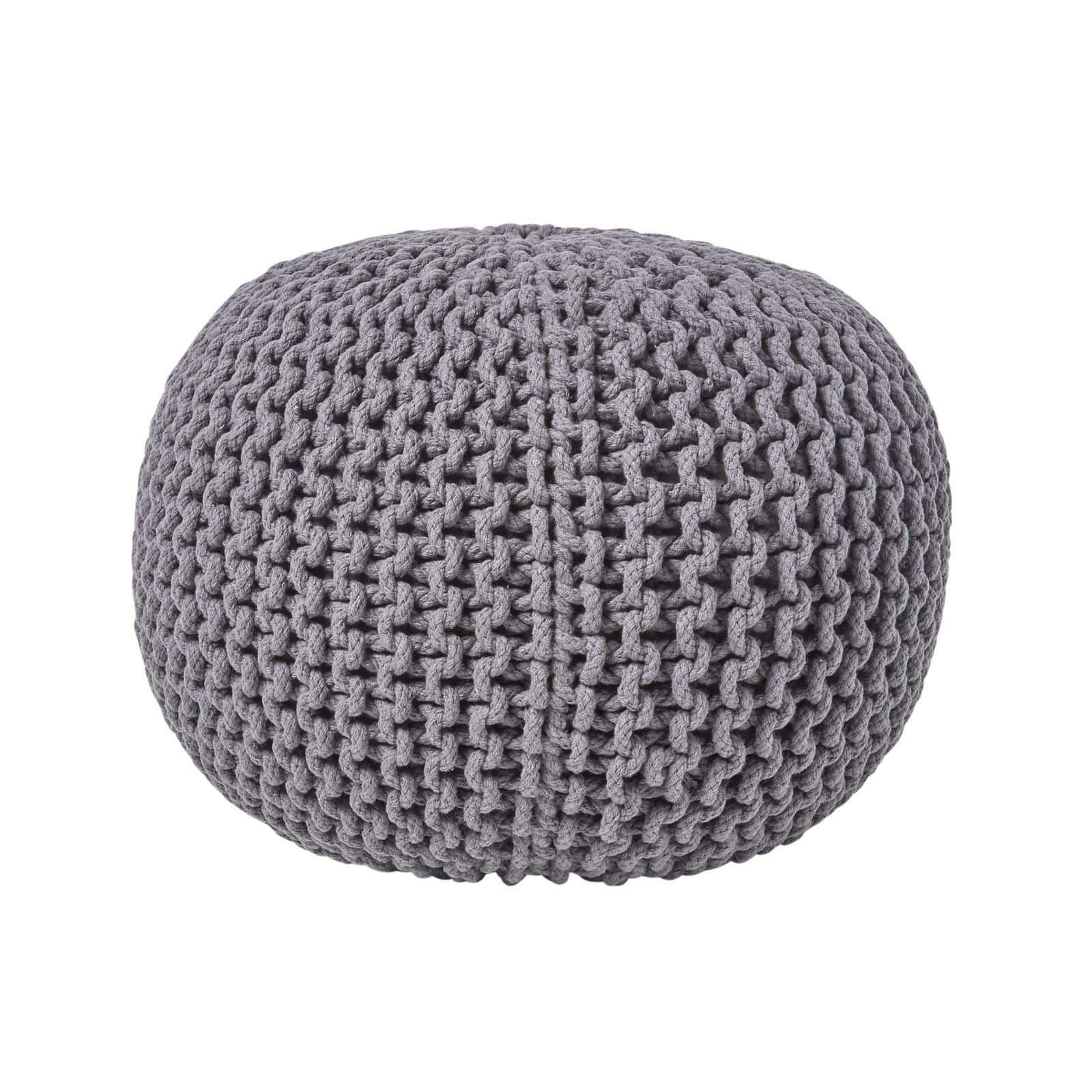 Hand-Knitted-100-Cotton-Pouffes-Round-Sphere-Or-Cube-Square-Chunky-Footstools thumbnail 51