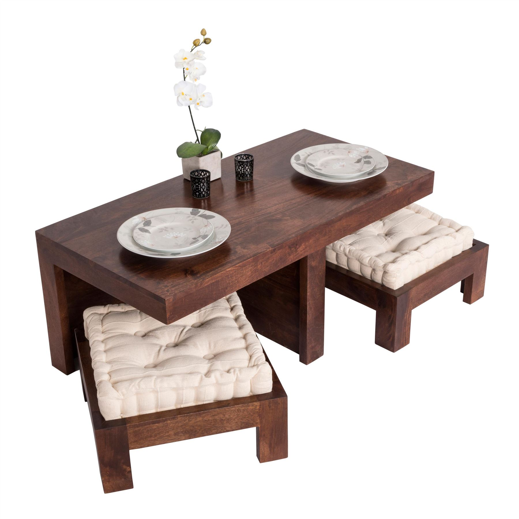 Living Room Table With Stools: Dark Shade Dakota Compact Coffee Table Set With Two Stools