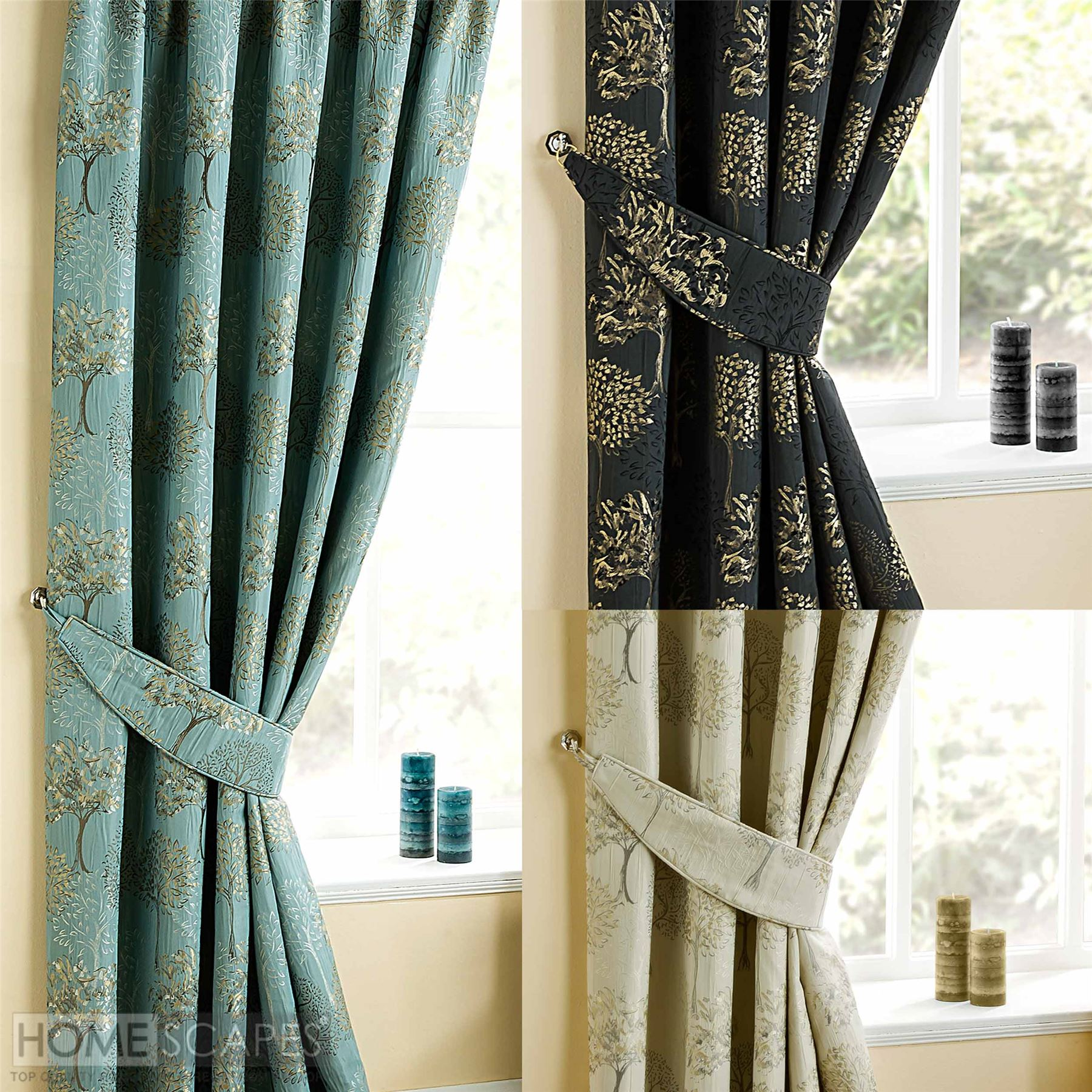 Curtains Tie Backs Pair Duck Egg Blue, Jet Black, Natural