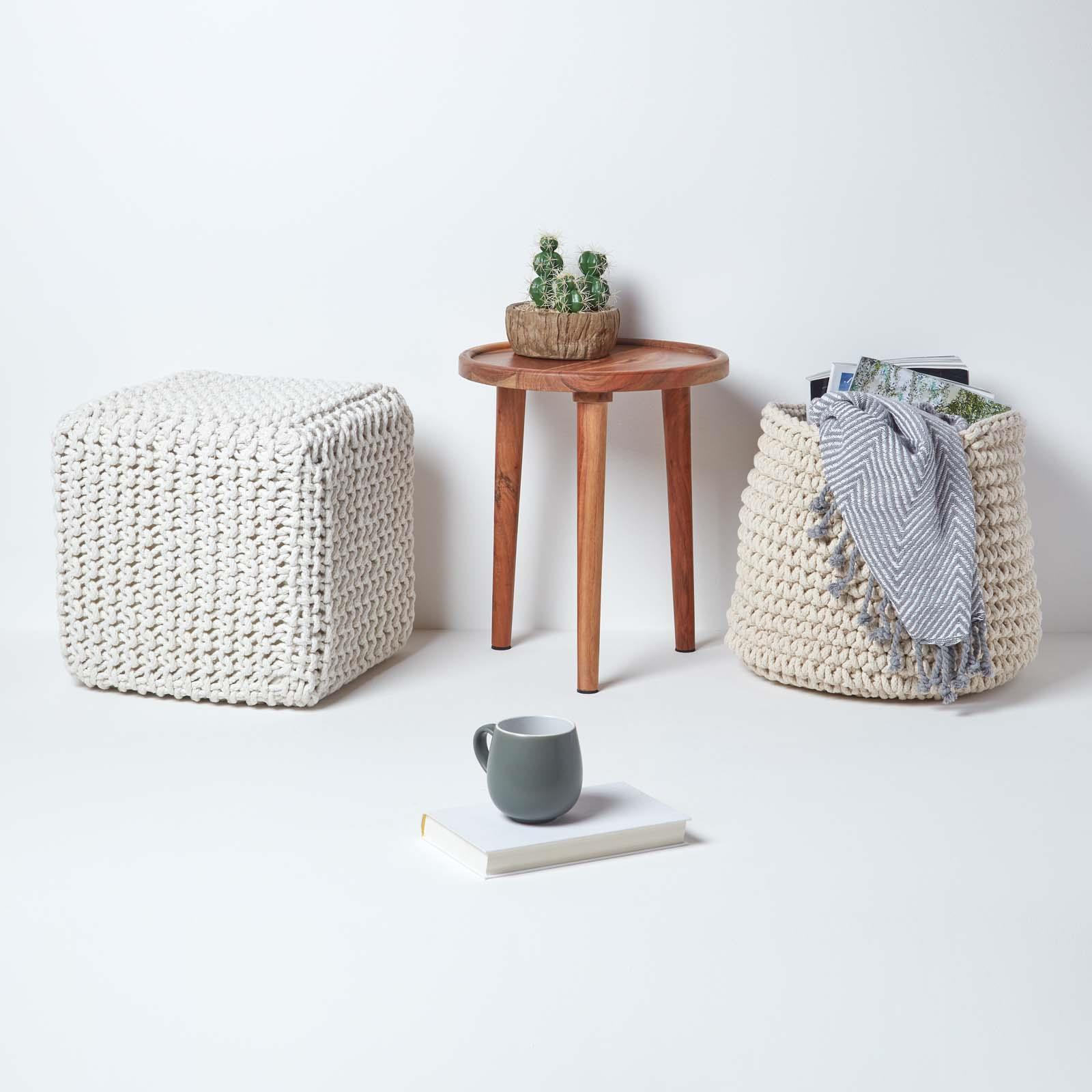 Hand-Knitted-100-Cotton-Pouffes-Round-Sphere-Or-Cube-Square-Chunky-Footstools thumbnail 97