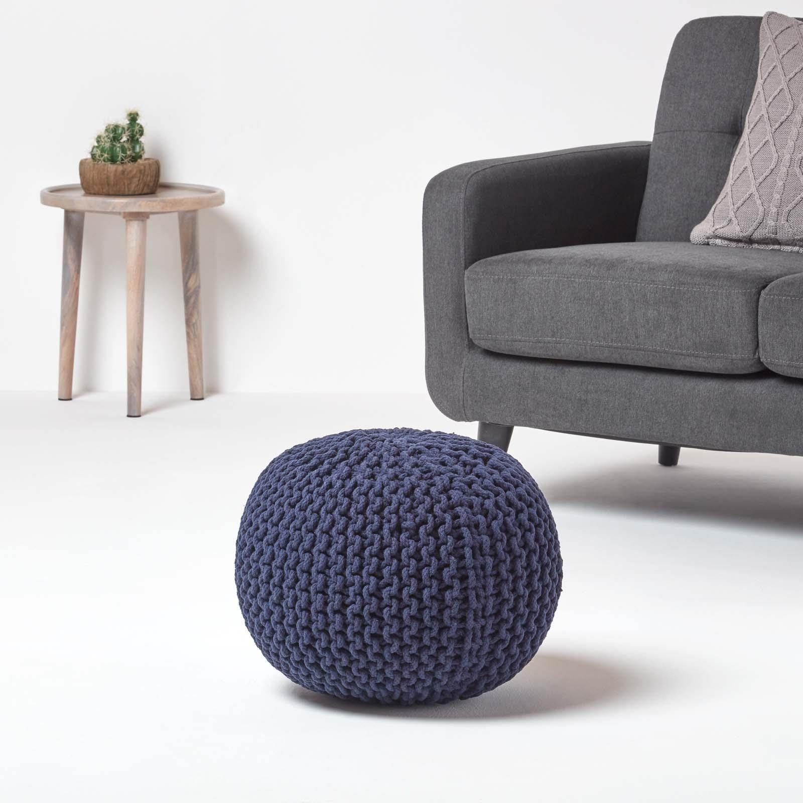 Hand-Knitted-100-Cotton-Pouffes-Round-Sphere-Or-Cube-Square-Chunky-Footstools thumbnail 105
