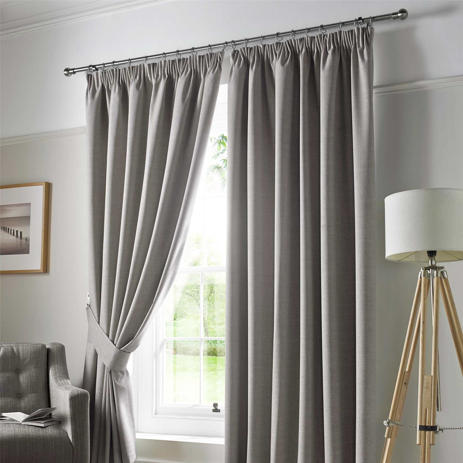 Pencil Pleat Blackout Ready Made Curtains Pair Fully