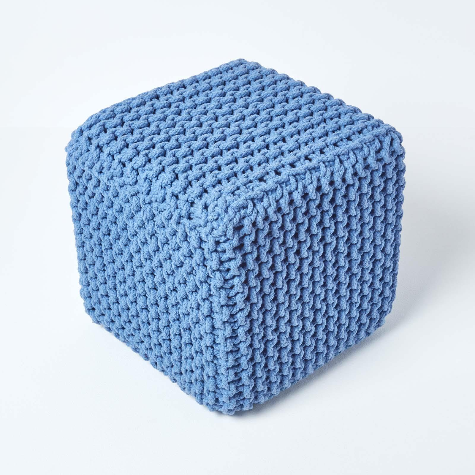Hand-Knitted-100-Cotton-Pouffes-Round-Sphere-Or-Cube-Square-Chunky-Footstools thumbnail 23
