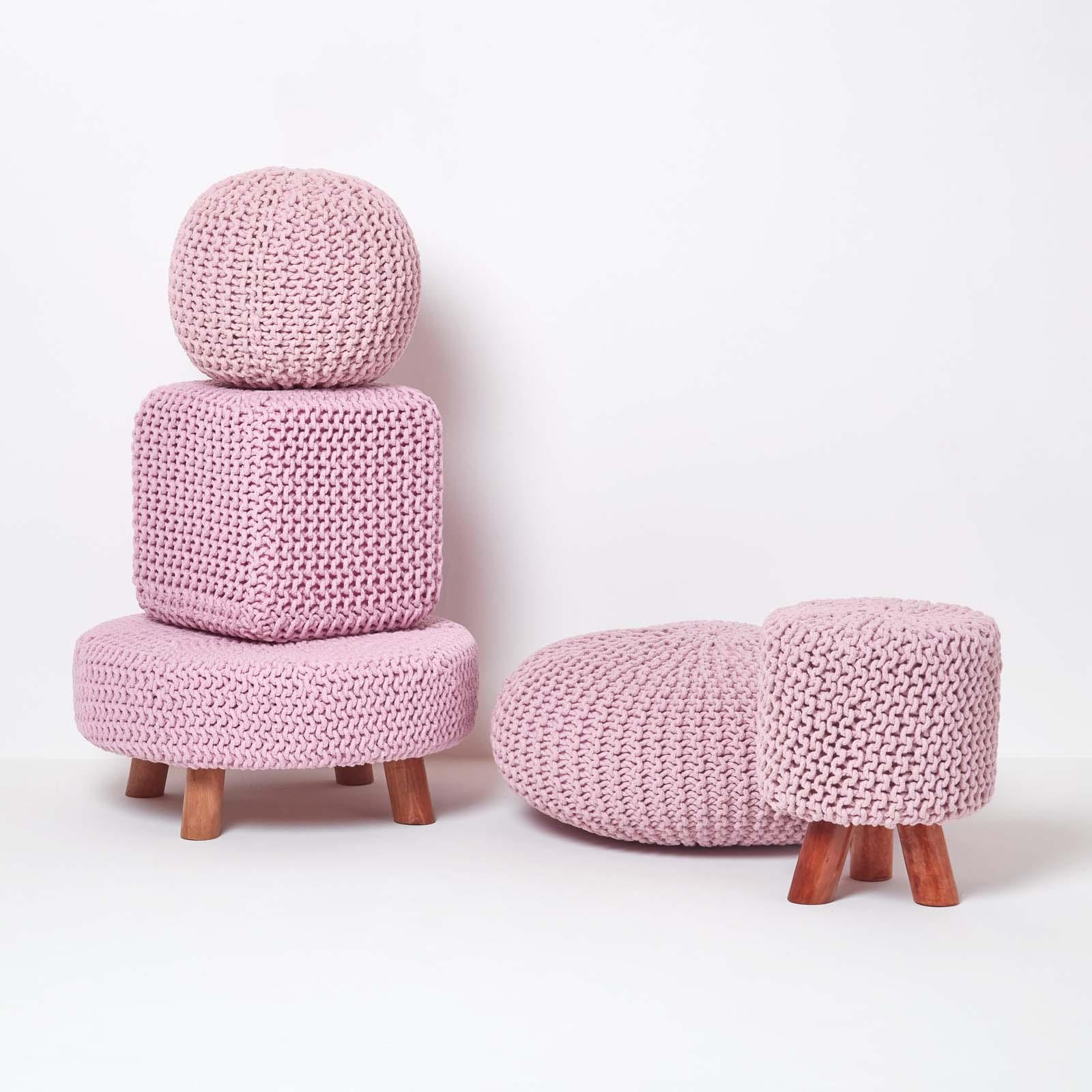 Hand-Knitted-100-Cotton-Pouffes-Round-Sphere-Or-Cube-Square-Chunky-Footstools thumbnail 144