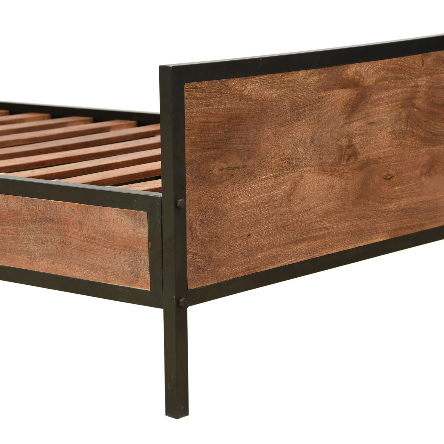 Reclaimed Mango Hard Wood & Metal Bed Frame with Slatted ...