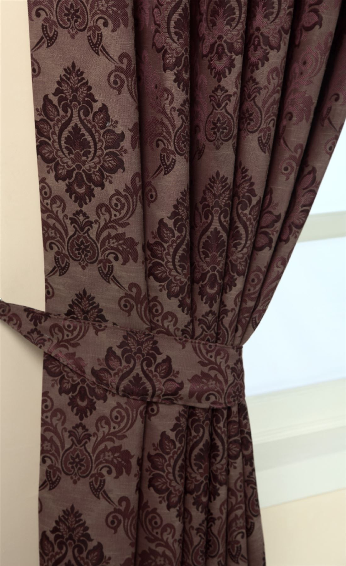 Pencil Pleat Fully Lined Ready Made Jacquard Damask Curtains Blue ...