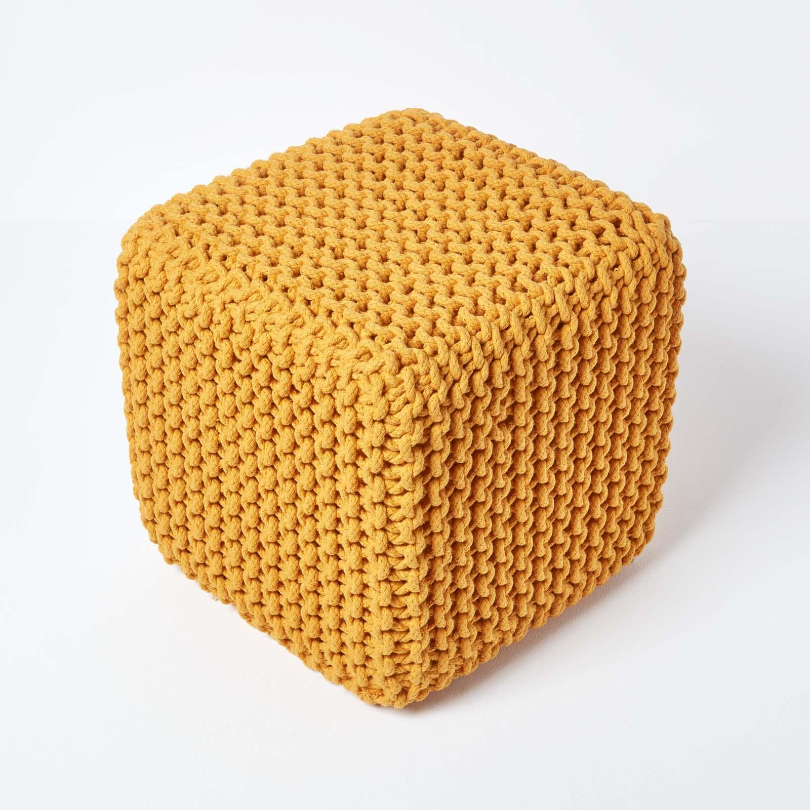 Hand-Knitted-100-Cotton-Pouffes-Round-Sphere-Or-Cube-Square-Chunky-Footstools thumbnail 88