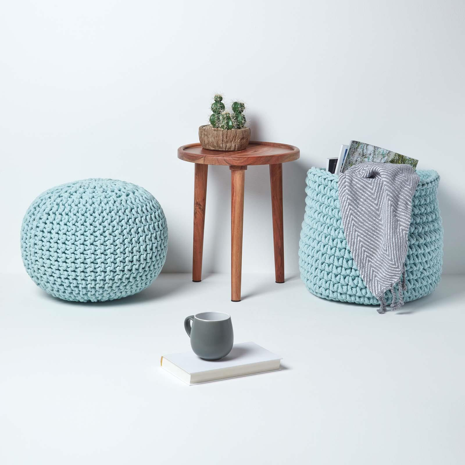 Hand-Knitted-100-Cotton-Pouffes-Round-Sphere-Or-Cube-Square-Chunky-Footstools thumbnail 133