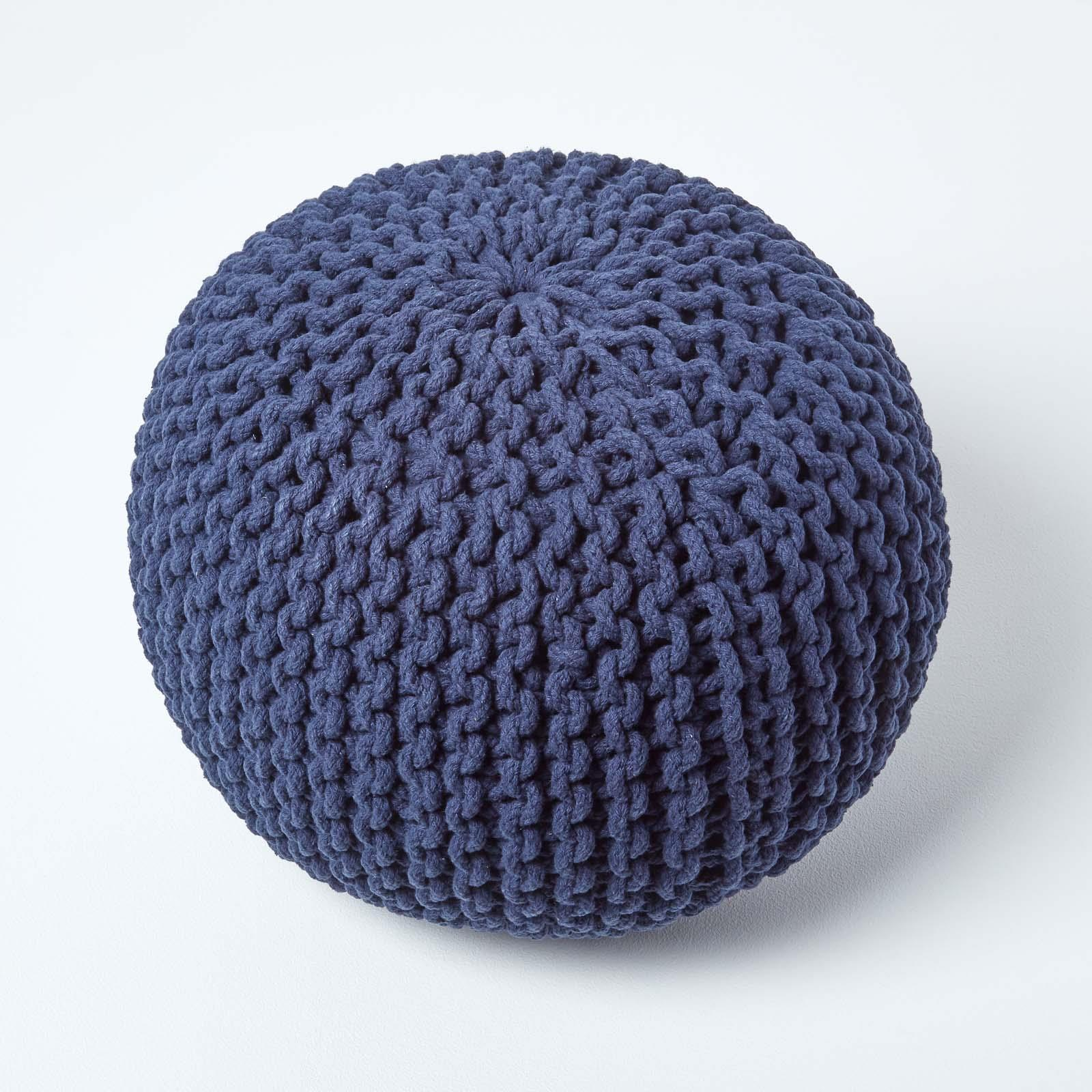 Hand-Knitted-100-Cotton-Pouffes-Round-Sphere-Or-Cube-Square-Chunky-Footstools thumbnail 106