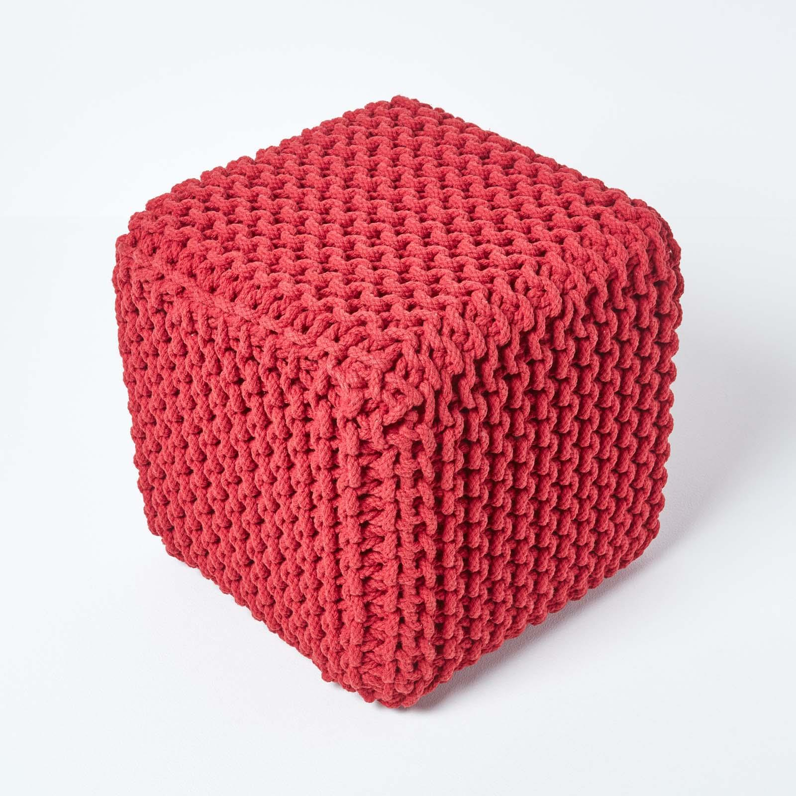Hand-Knitted-100-Cotton-Pouffes-Round-Sphere-Or-Cube-Square-Chunky-Footstools thumbnail 177