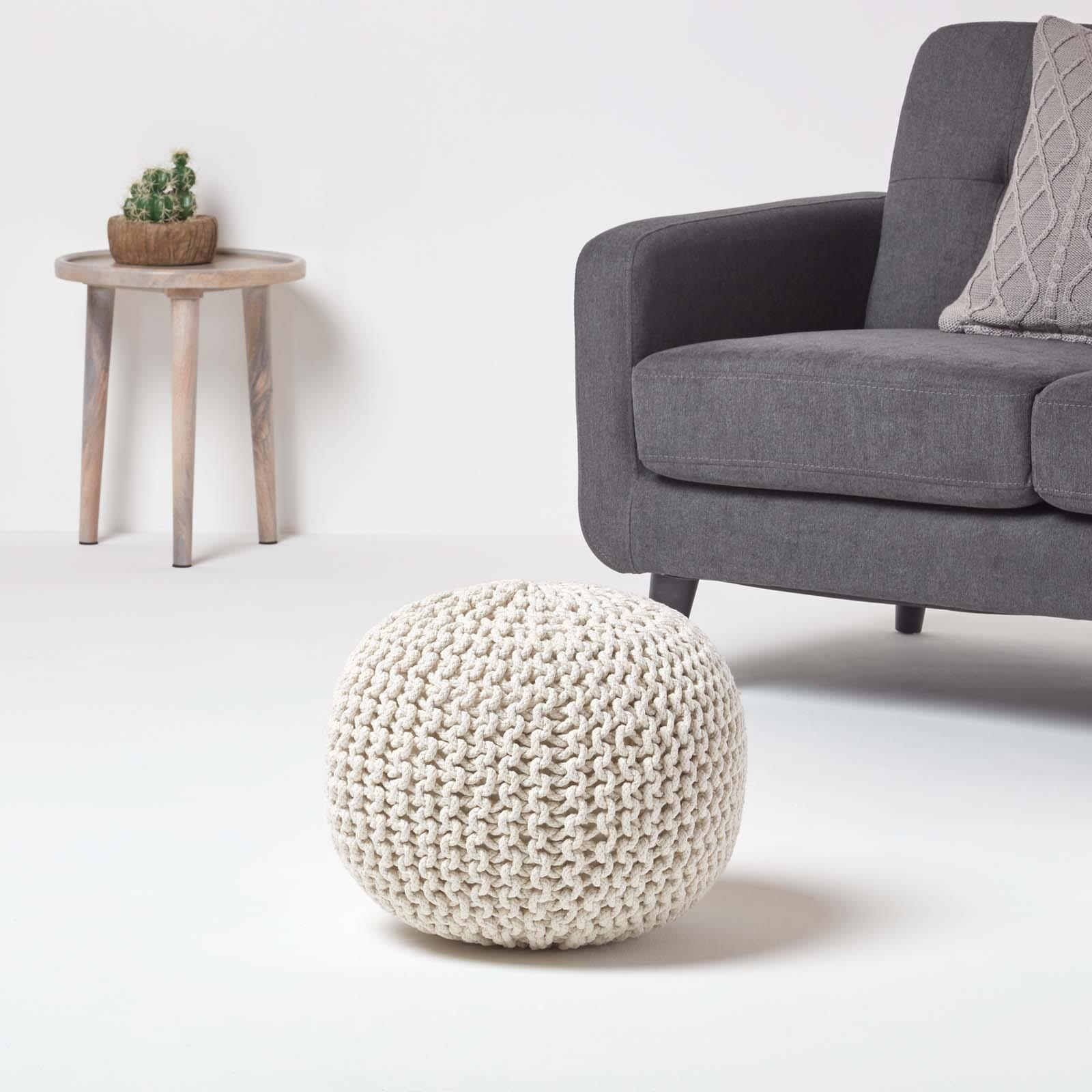Hand-Knitted-100-Cotton-Pouffes-Round-Sphere-Or-Cube-Square-Chunky-Footstools thumbnail 98