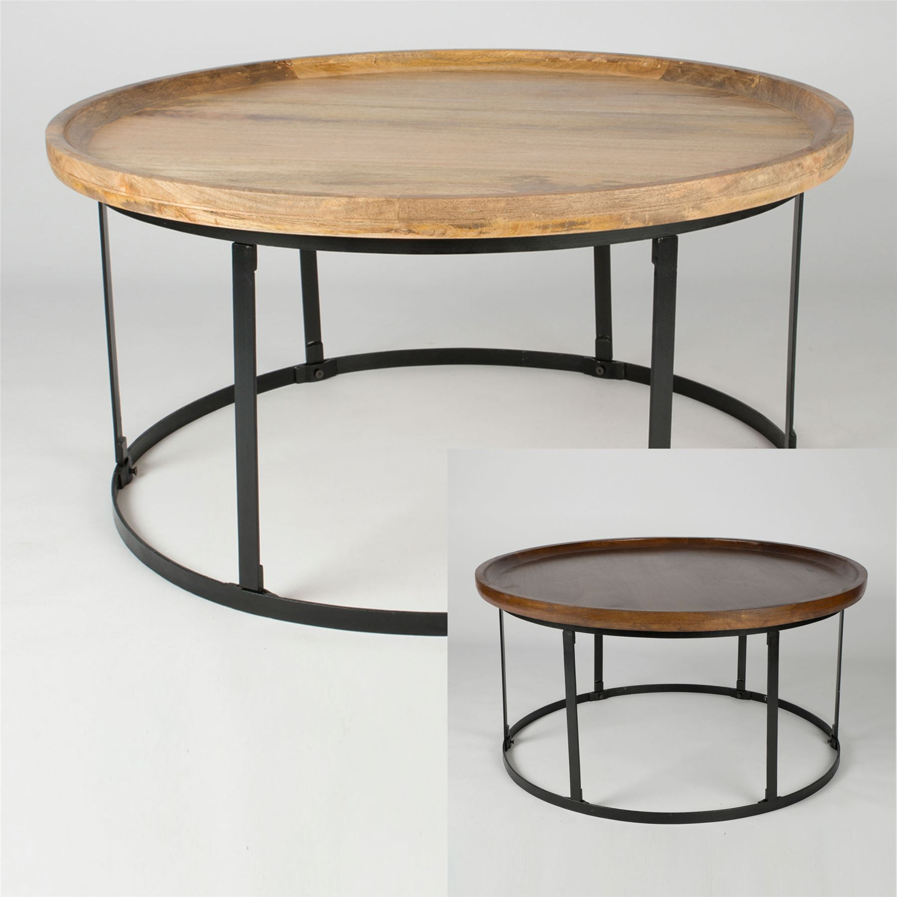 - Round Coffee Table With Steel Frame Support 100% Solid Mango