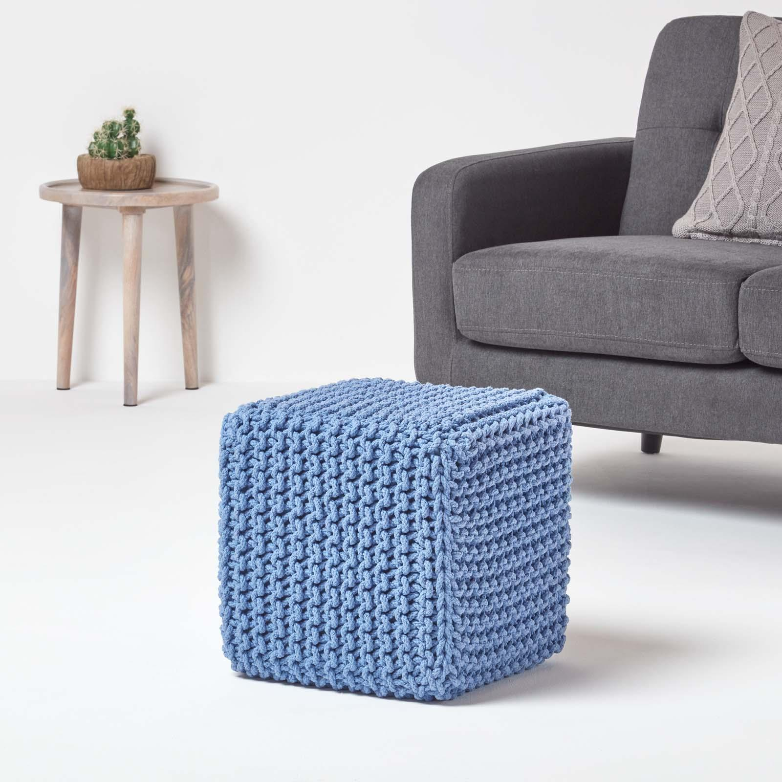 Hand-Knitted-100-Cotton-Pouffes-Round-Sphere-Or-Cube-Square-Chunky-Footstools thumbnail 22