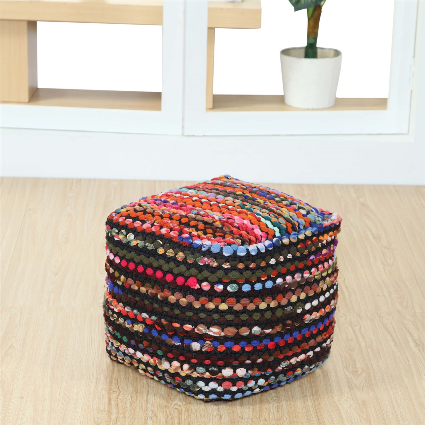 Furniture Hearty Blue Vintage Indian Patchwork Pouf Footstool Cotton Ottoman Decor Bohemian Sturdy Construction