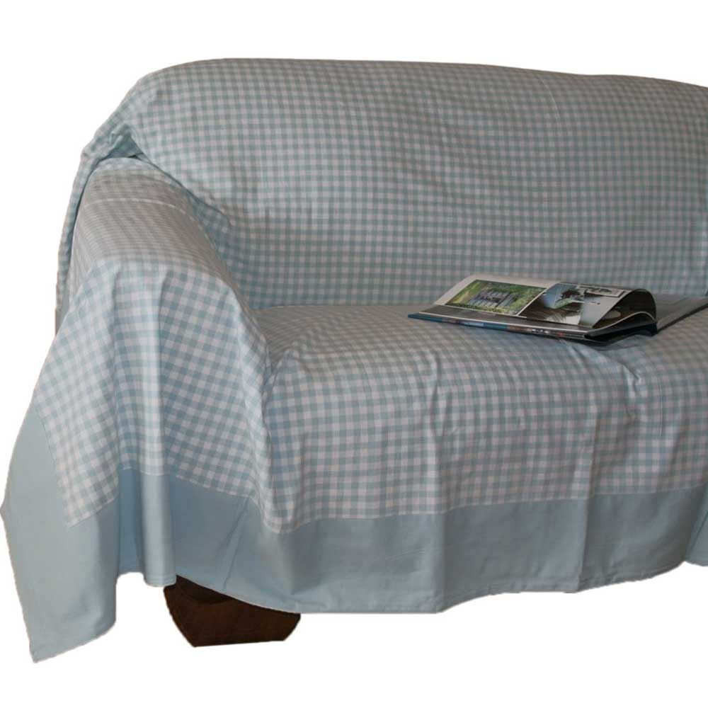 Gingham Check Extra Large Cotton Sofa Throw Bed