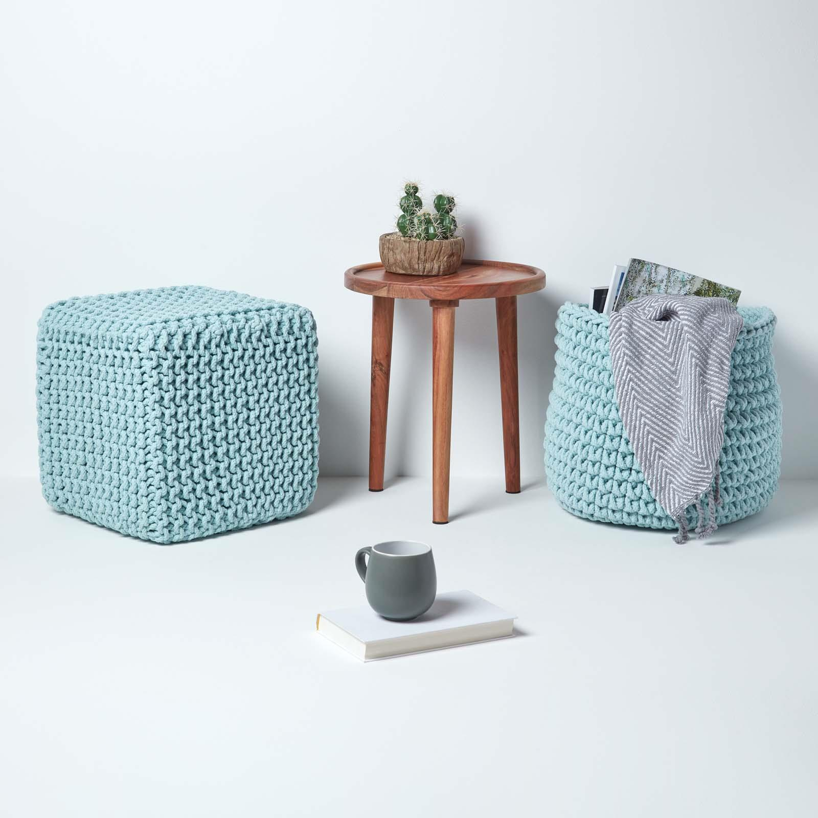 Hand-Knitted-100-Cotton-Pouffes-Round-Sphere-Or-Cube-Square-Chunky-Footstools thumbnail 138