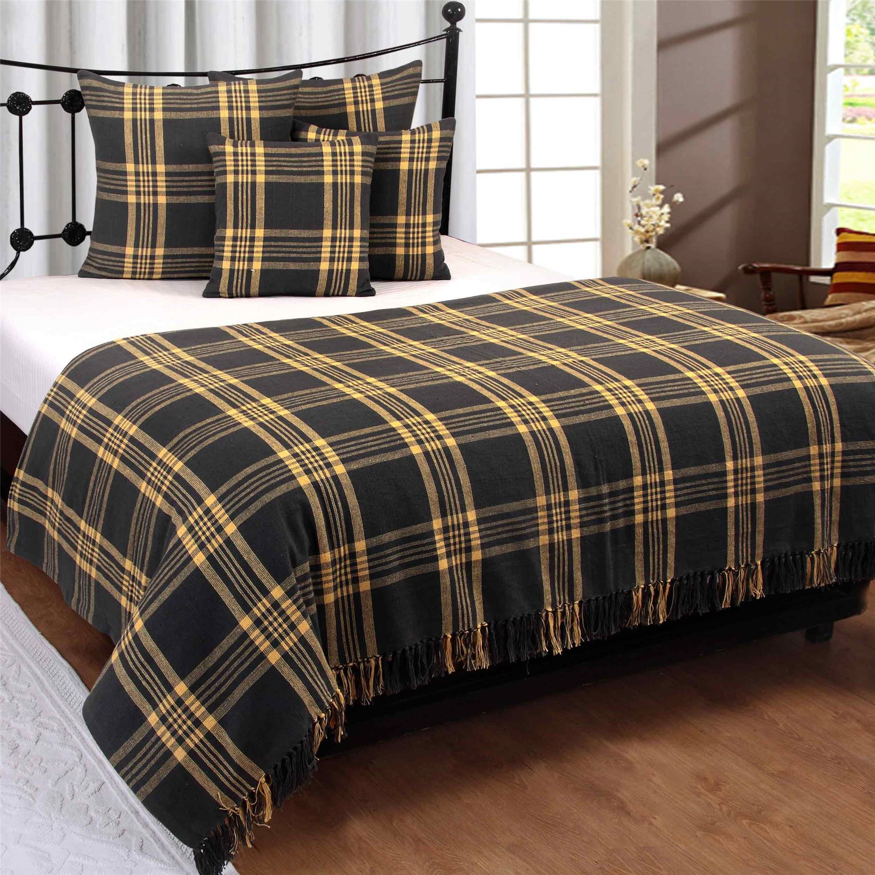 Cotton Extra Tartan Throws for Sofas Bed Throw Blankets