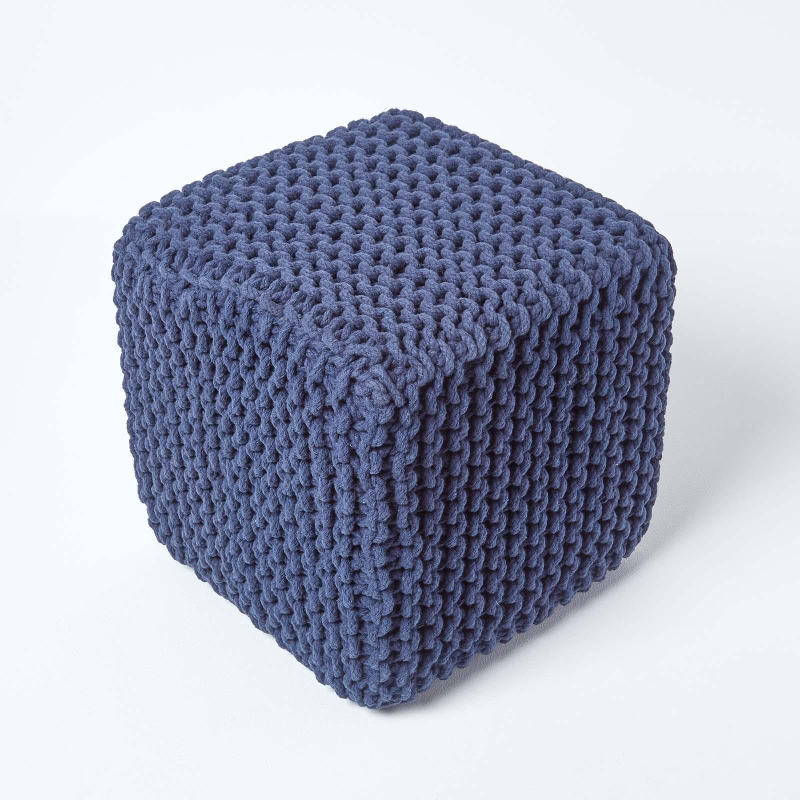 Hand-Knitted-100-Cotton-Pouffes-Round-Sphere-Or-Cube-Square-Chunky-Footstools thumbnail 111