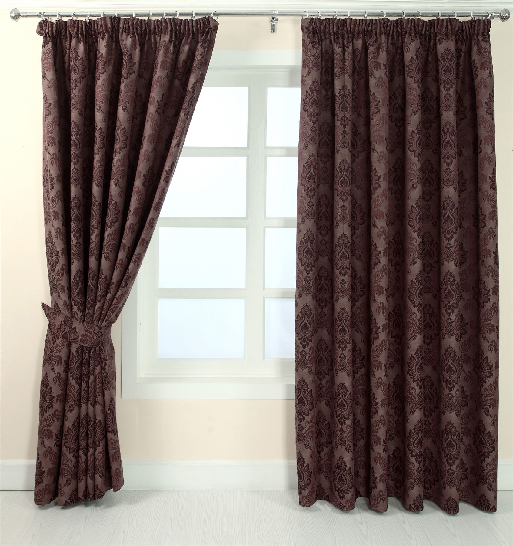 Delighted Brown Damask Curtains Images - Bathroom with Bathtub ...