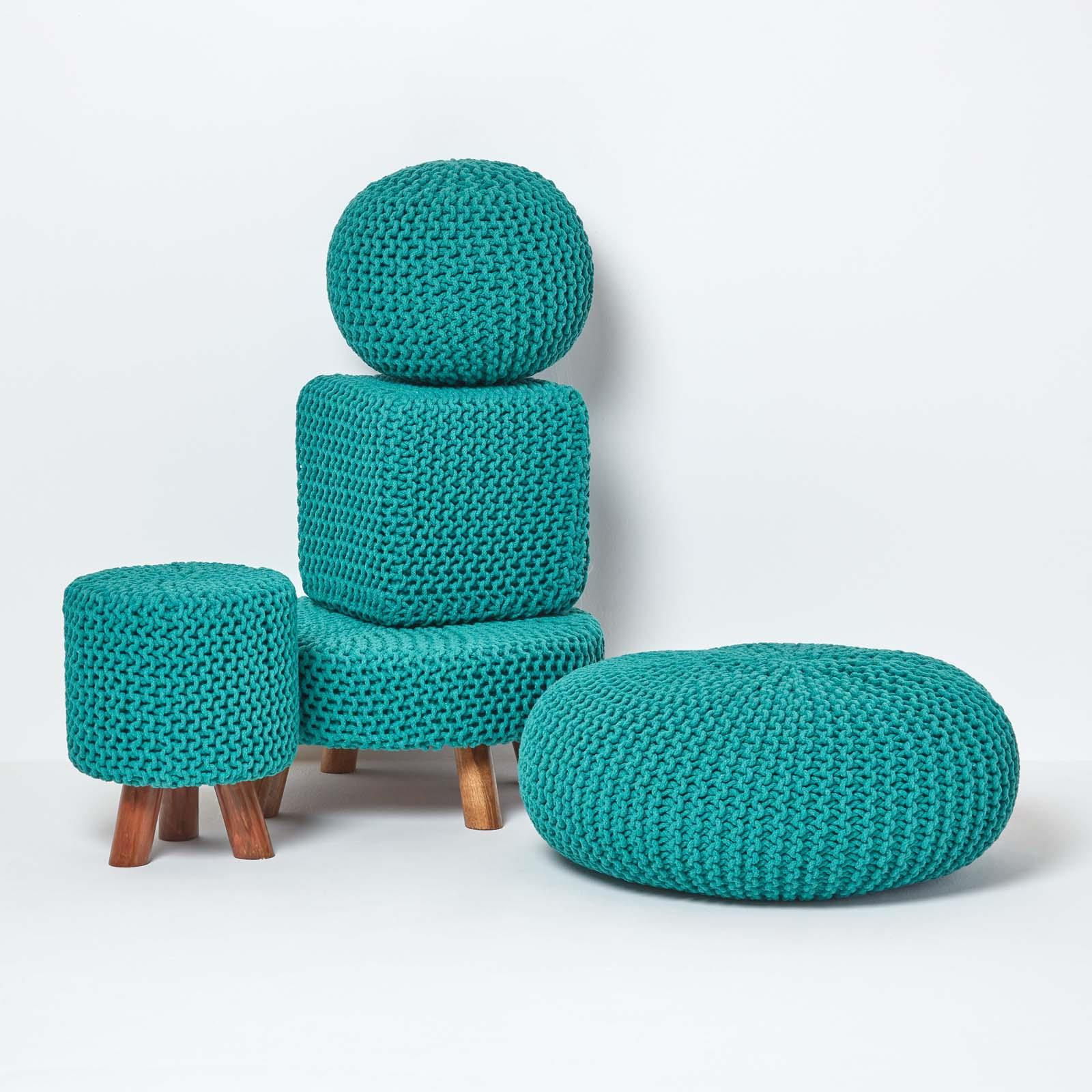 Hand-Knitted-100-Cotton-Pouffes-Round-Sphere-Or-Cube-Square-Chunky-Footstools thumbnail 202