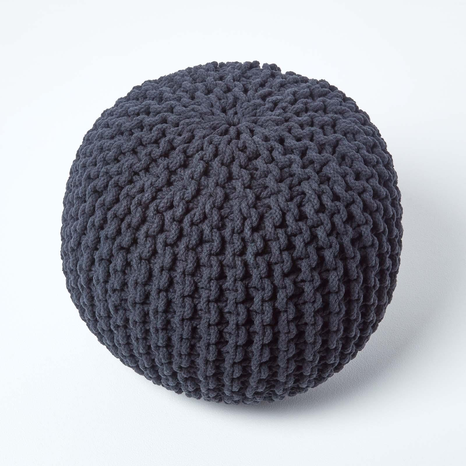 Hand-Knitted-100-Cotton-Pouffes-Round-Sphere-Or-Cube-Square-Chunky-Footstools thumbnail 6