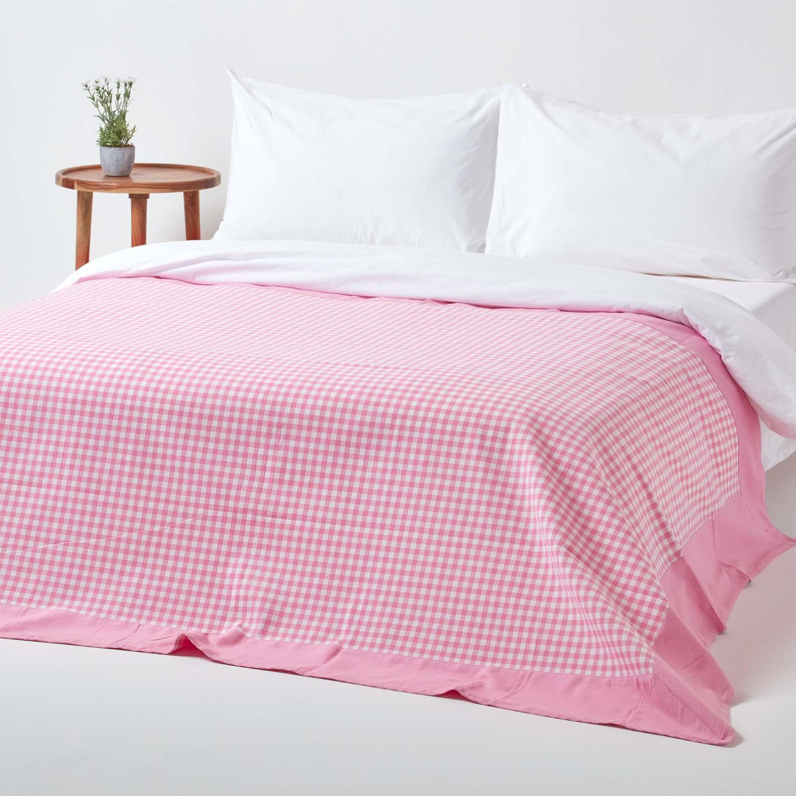 Gingham Check Extra Large Cotton Sofa Throw Bed Covers
